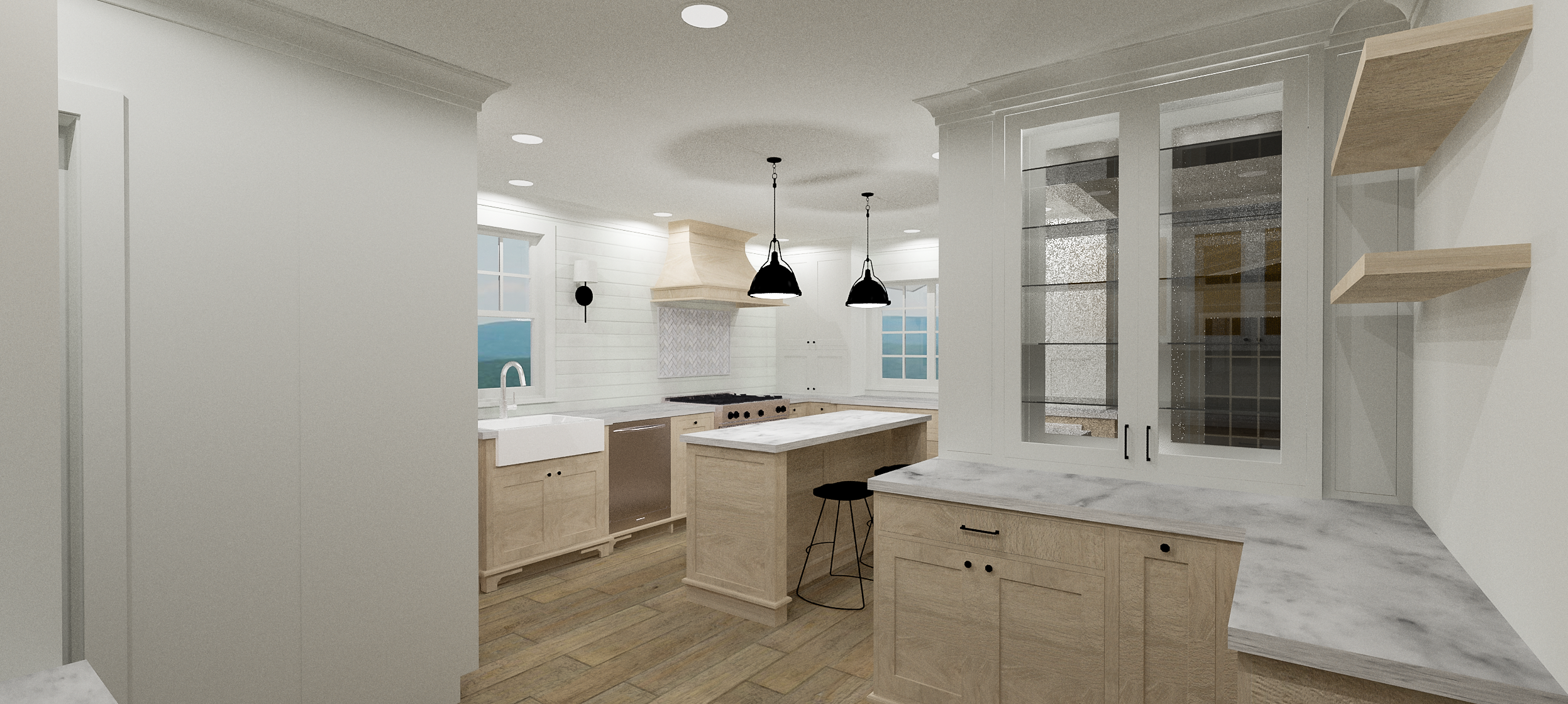 Kitchen Rendering | Designed by  &Design | Rendered by Kelly Fridline Design using Chief Architect X9