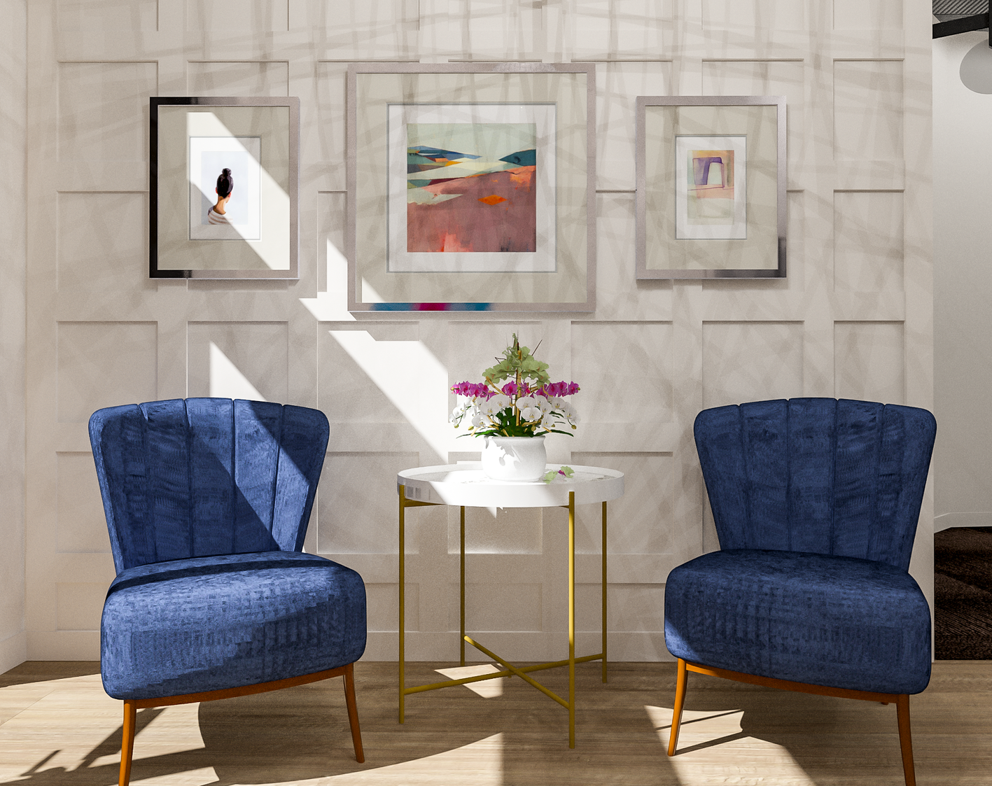 Sola Salons Entryway Scheme | Designed by Bell + Boy Design Co.| Rendered by Kelly Fridline Design using Chief Architect X10
