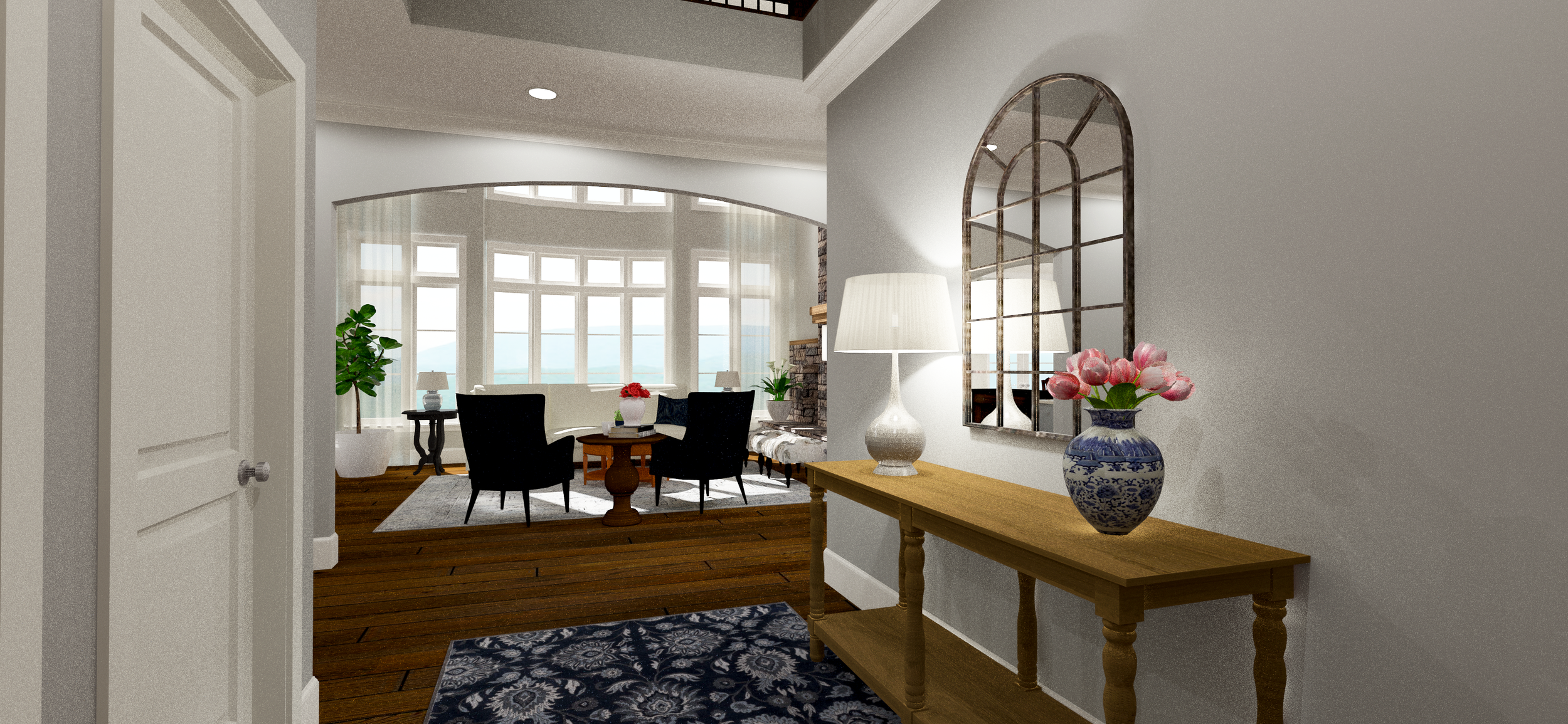 Elegant Entryway | Designed by  Karen Grant Interiors | Rendered by Kelly Fridline Design using Chief Architect X10
