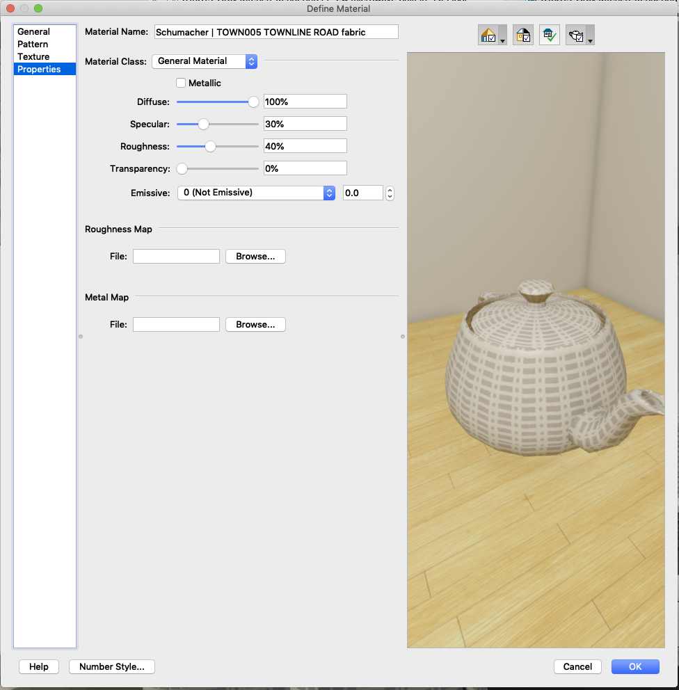 Material Texture Property Settings in Chief Architect Interiors