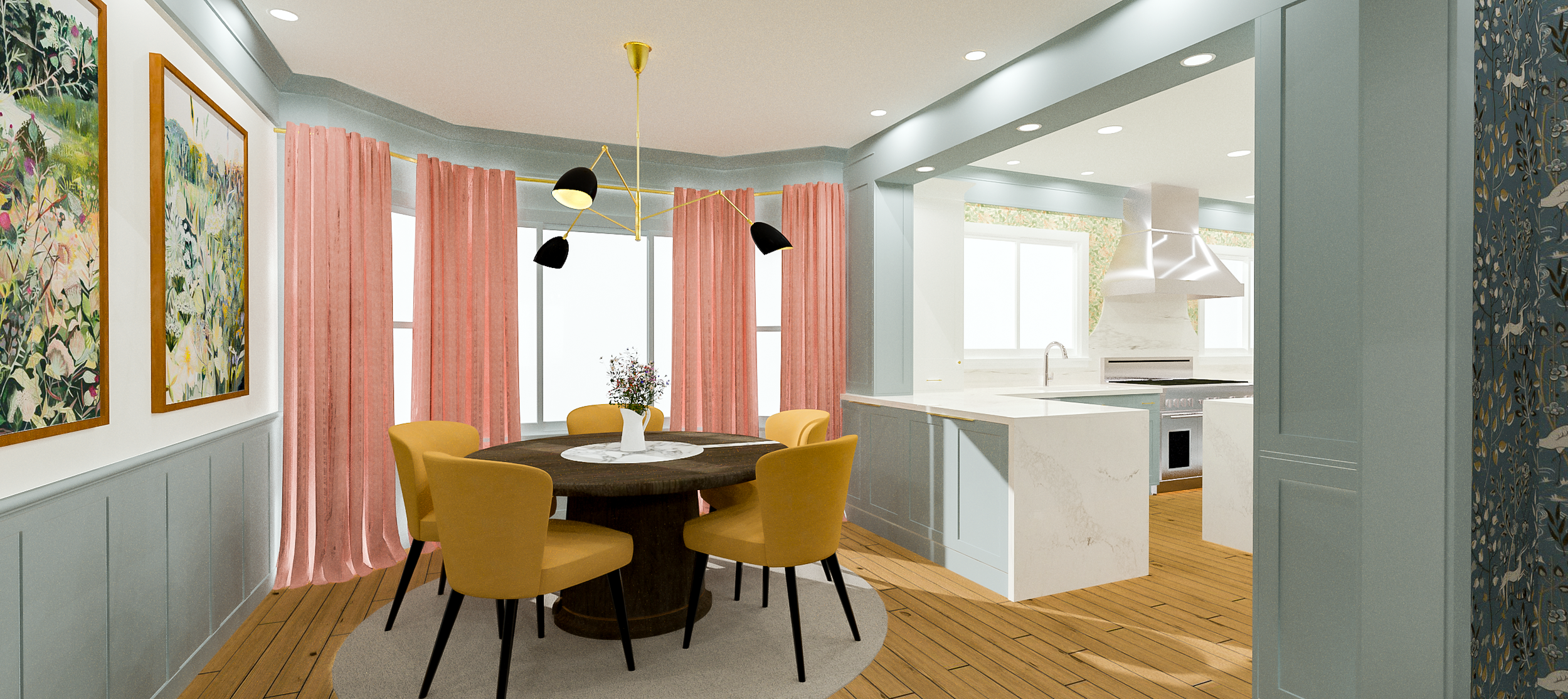 Dining Room Designed and Rendered by: Kelly Fridline Design, LLC