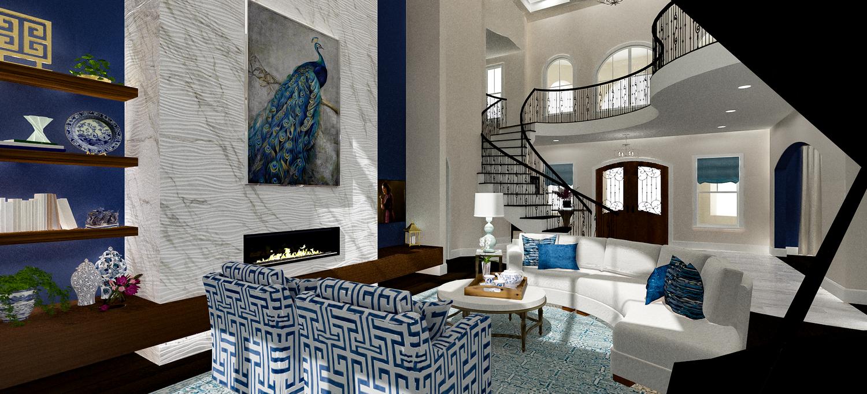 Asian Inspired Living Room rendering gallery — kelly fridline design, llc