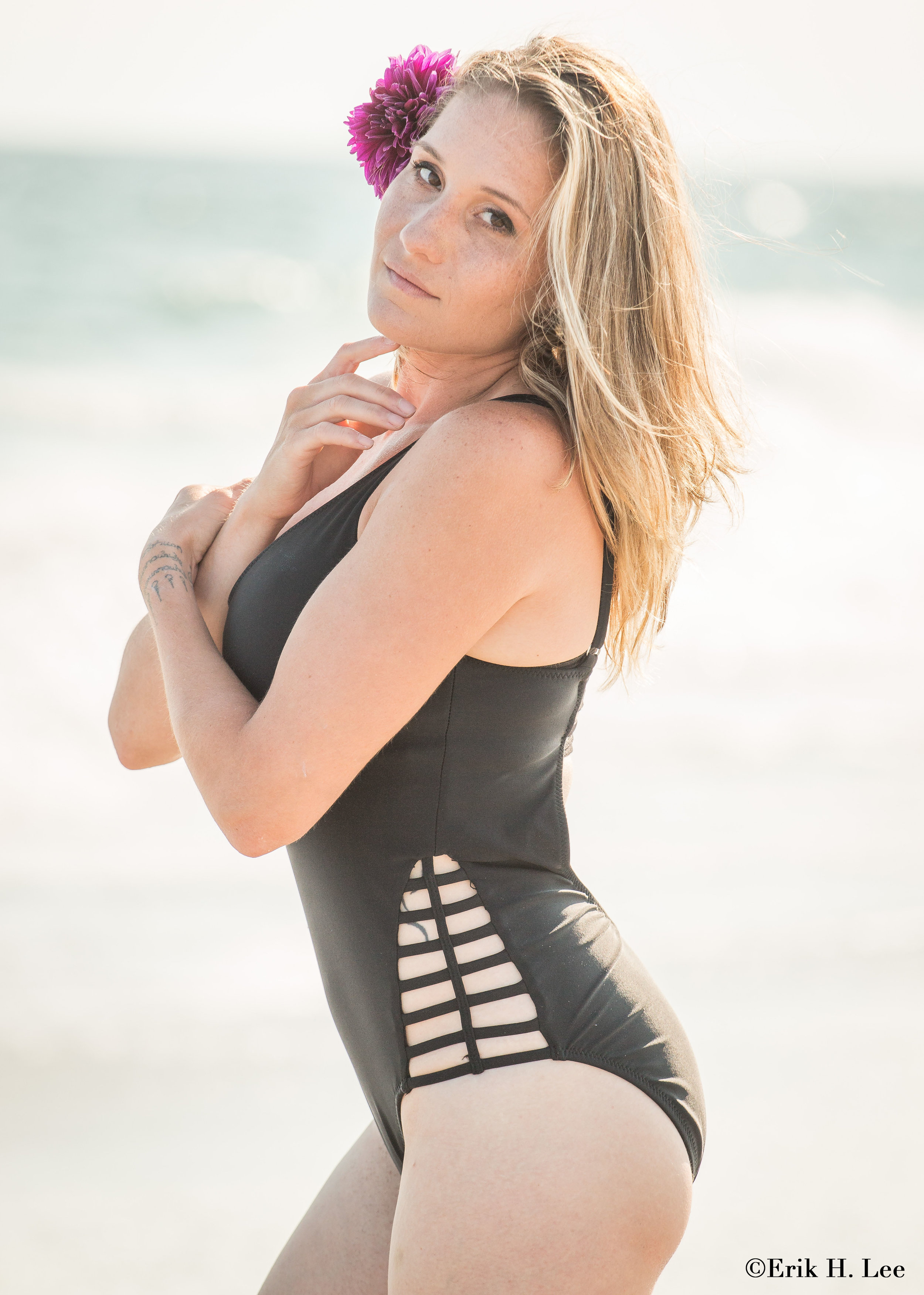 Katie - Photographed at Robert Moses State Park (Long Island), unknown swimwear.