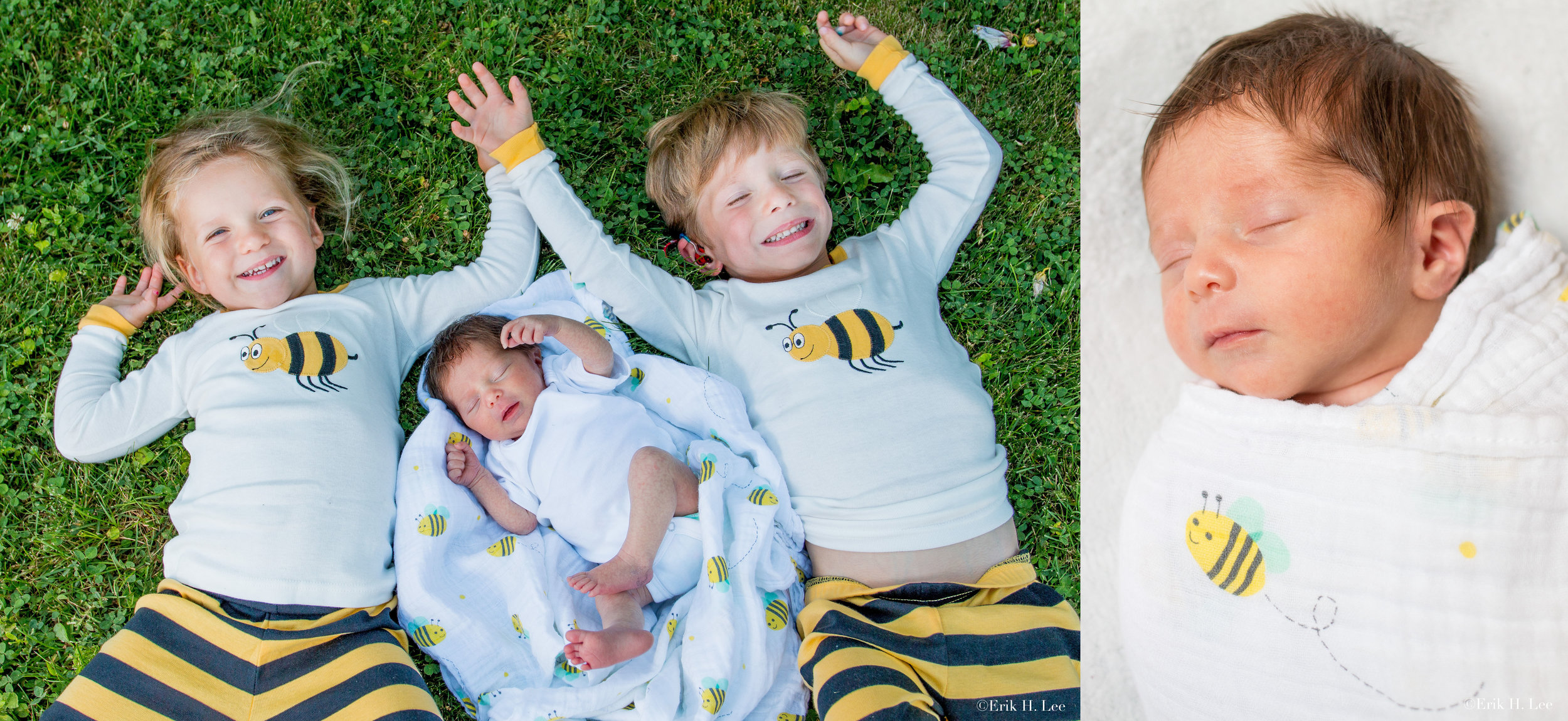 """The Three Bees (Bennett, Blake & Brynn) - Birth Announcement  I have been documenting the births in this family for quite a while now. Imagine three kids all under 4 years old at the time these images were taken? Mom had a great idea to put them all in """"Bee Pajamas"""" for these captures as all their names begin with a """"B"""". The smallest Bee is only weeks old in these images."""
