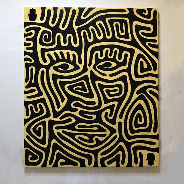 "#Hamsa #maze #painting. 70""x54"". #enamel on #canvas"