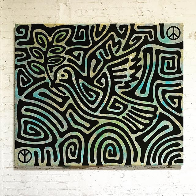 "#DoveandOlivebranch #maze #painting. 54""x70"". #enamel on #canvas  #☮️"