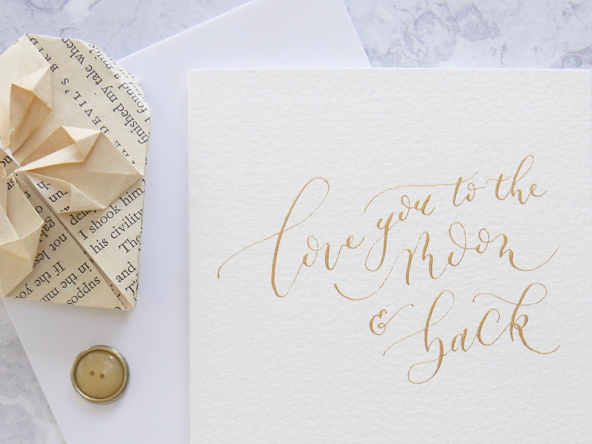 romantic calligraphy card for weddings and anniversaries