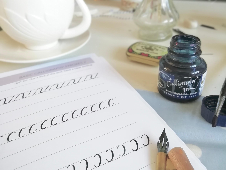 Modern calligraphy basic strokes worksheets