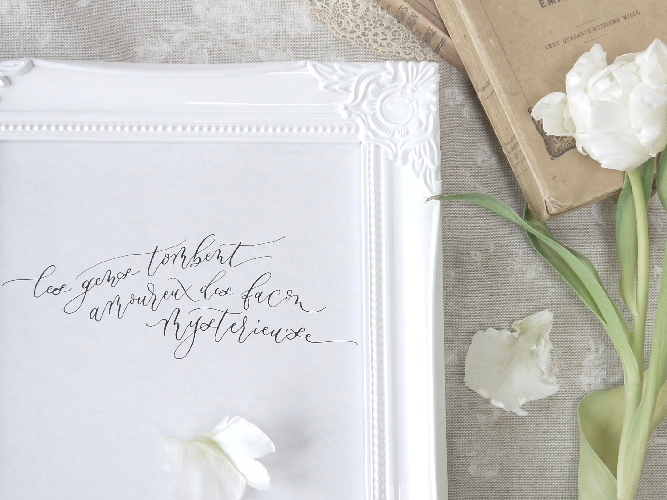 Calligraphy and shabby chic styling go hand in hand
