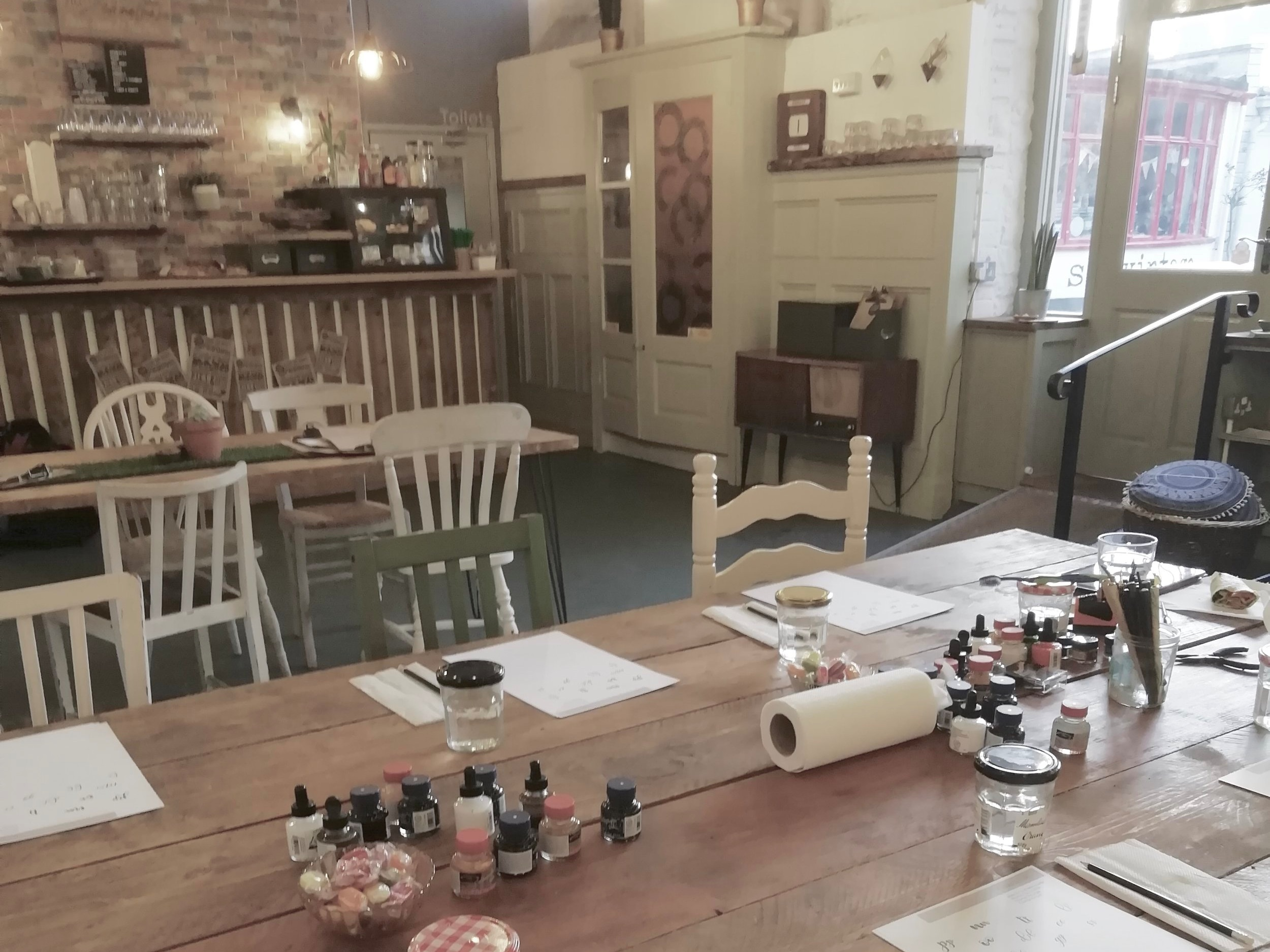 Modern calligraphy classes for beginners at Loaf Bakehouse in Wells, Somerset