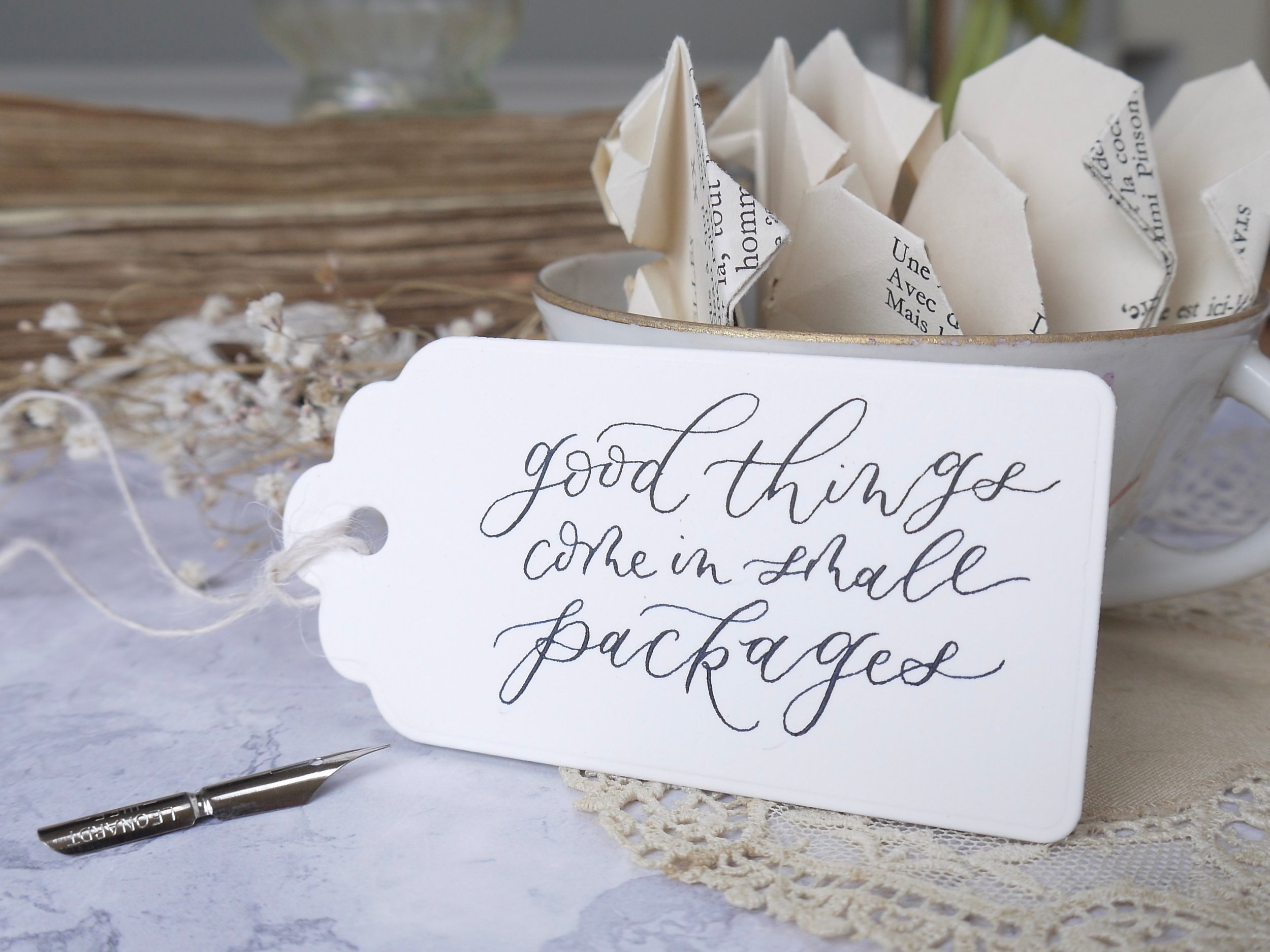 Personalised gift tags with calligraphy