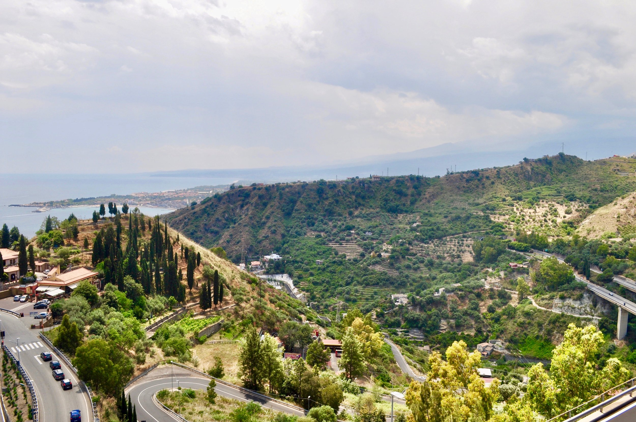 The drive to Taormina from Messina is scenic, but slightly scary, especially in a large bus.
