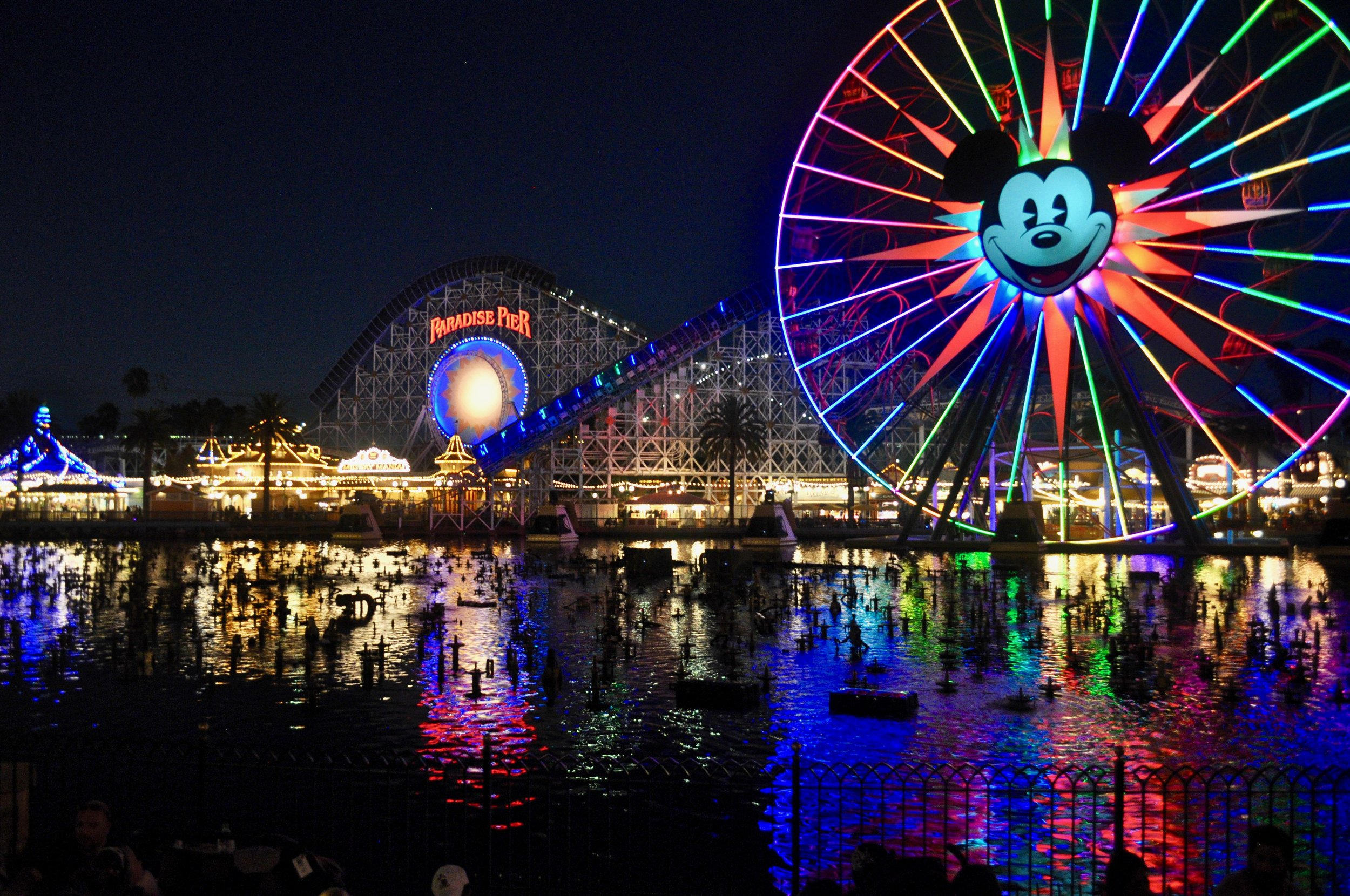 Disney's California Adventure at Night - MIckey's Fun Wheel and Paradise Pier - How to Make the Most of Disney Theme Parks as an Adult