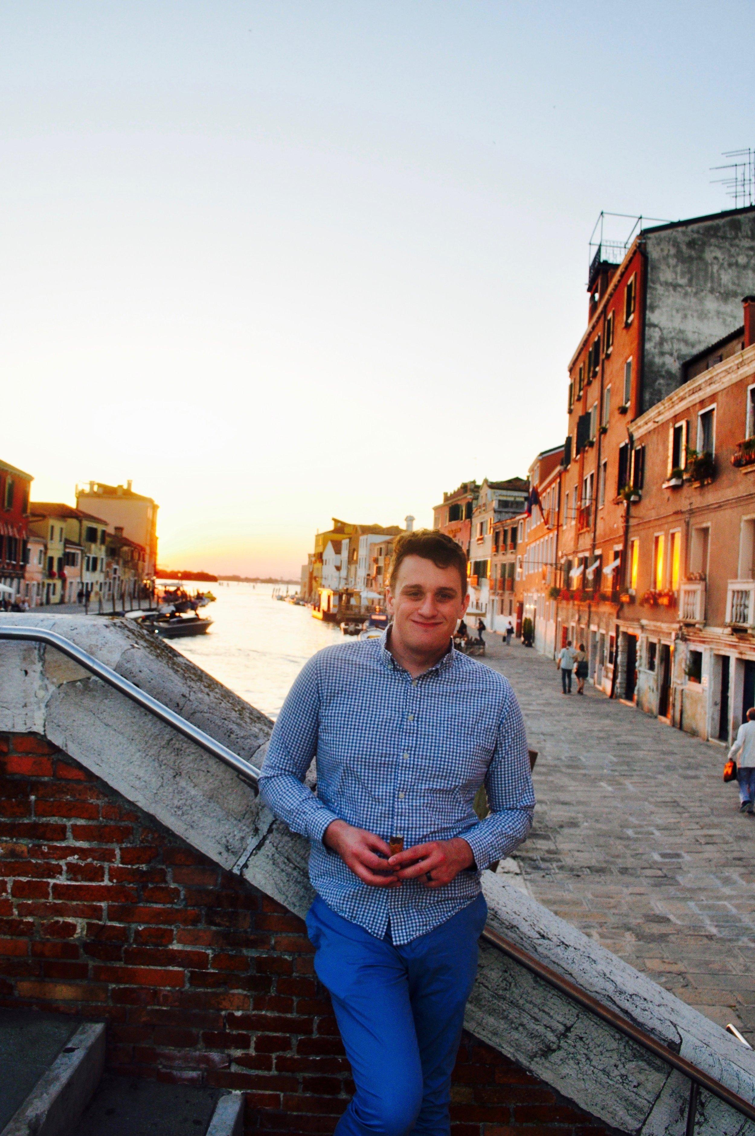 Enjoying Gelato at Sunset in Venice