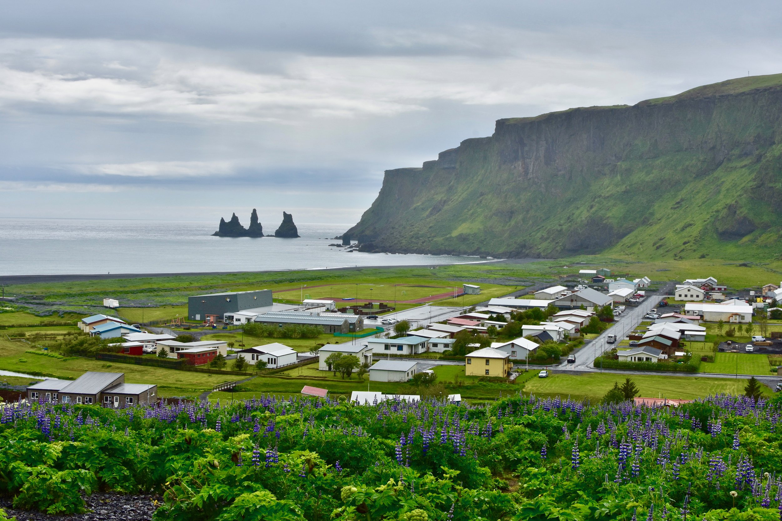 Village of Vik and View of Reynisdrangar