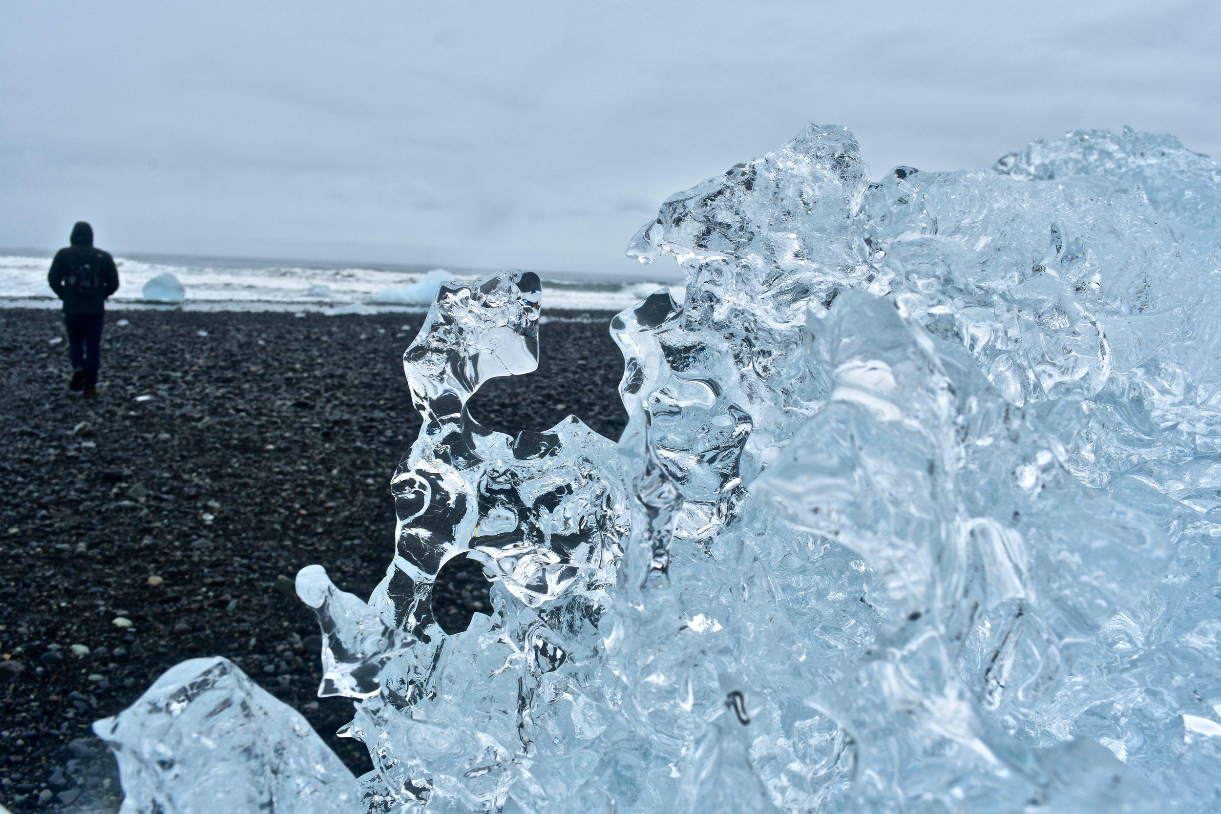 Diamond Beach at Jökulsárlón glacial lagoon - South Coast of Iceland