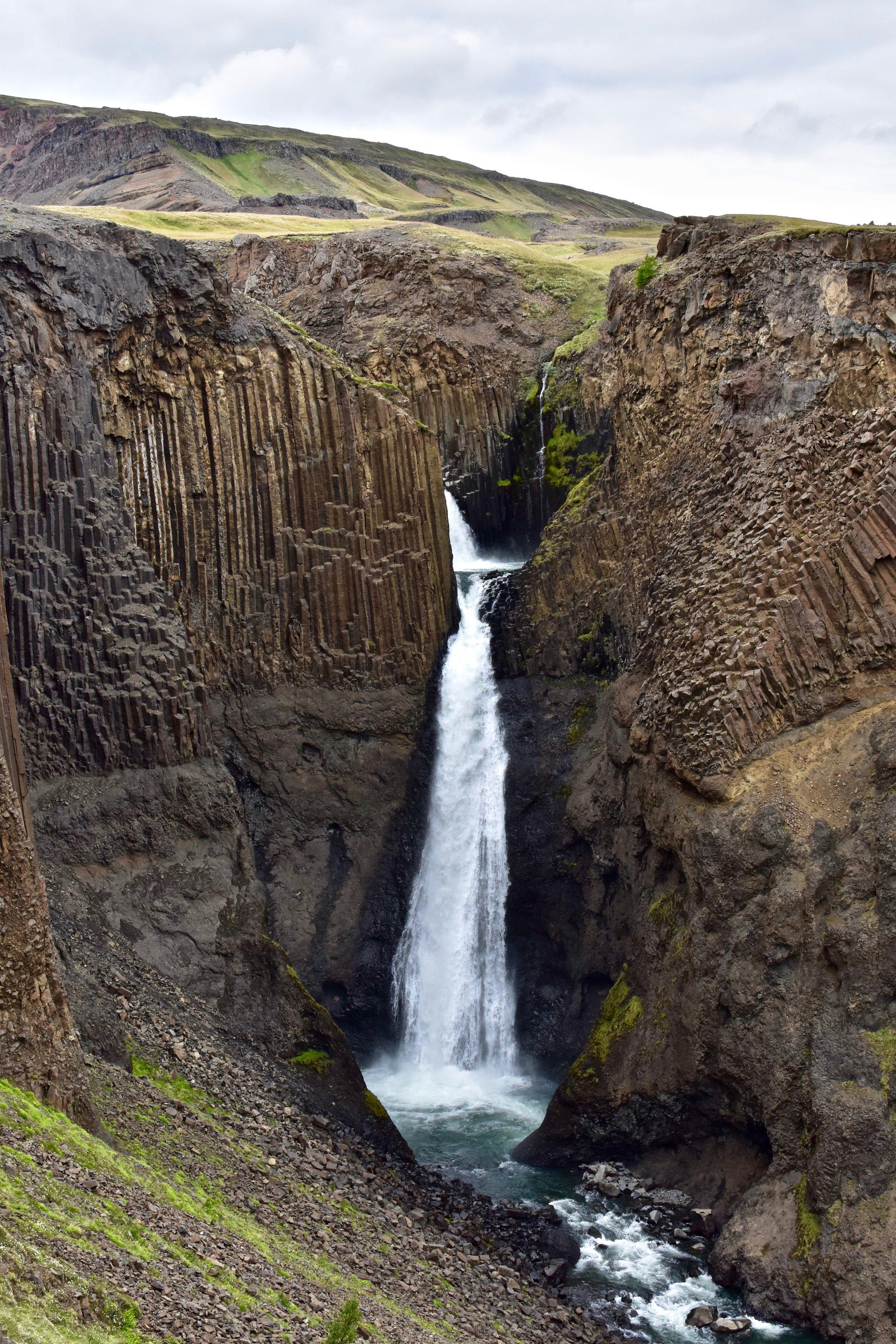 Litlanesfoss waterfall on the hike to Hengifoss