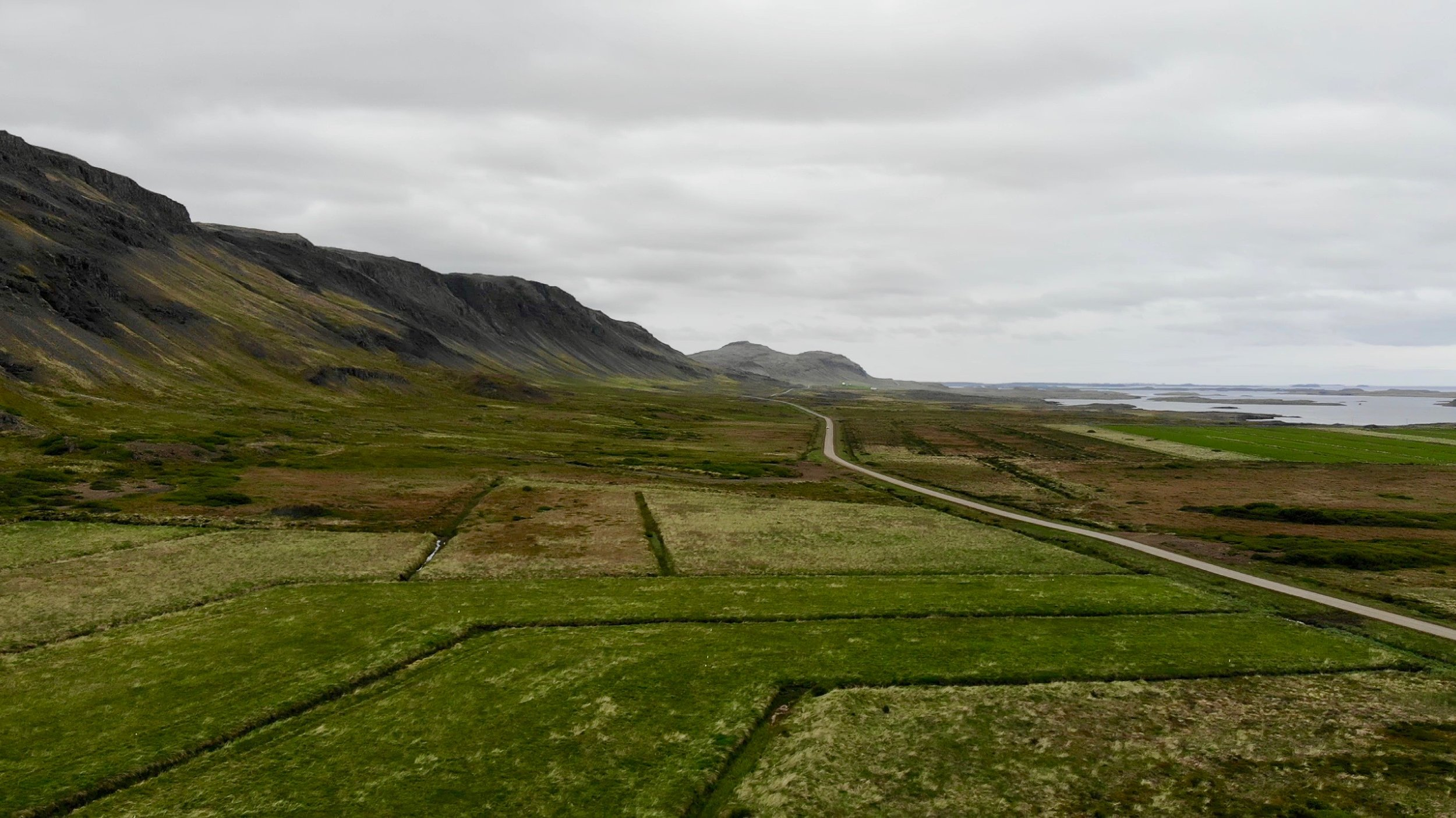 Drone photos of drive along North Iceland to Snæfellsnes Peninsula