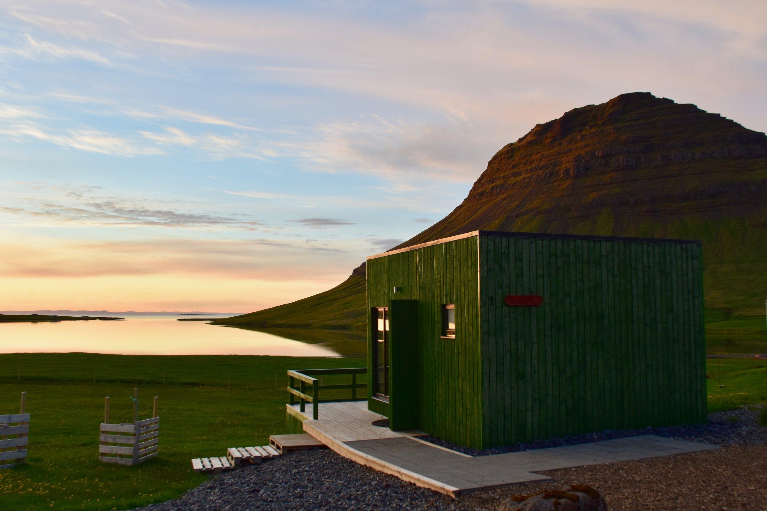 Our Airbnb cabin overlooking Kirkjufell on Snæfellsnes Peninsula
