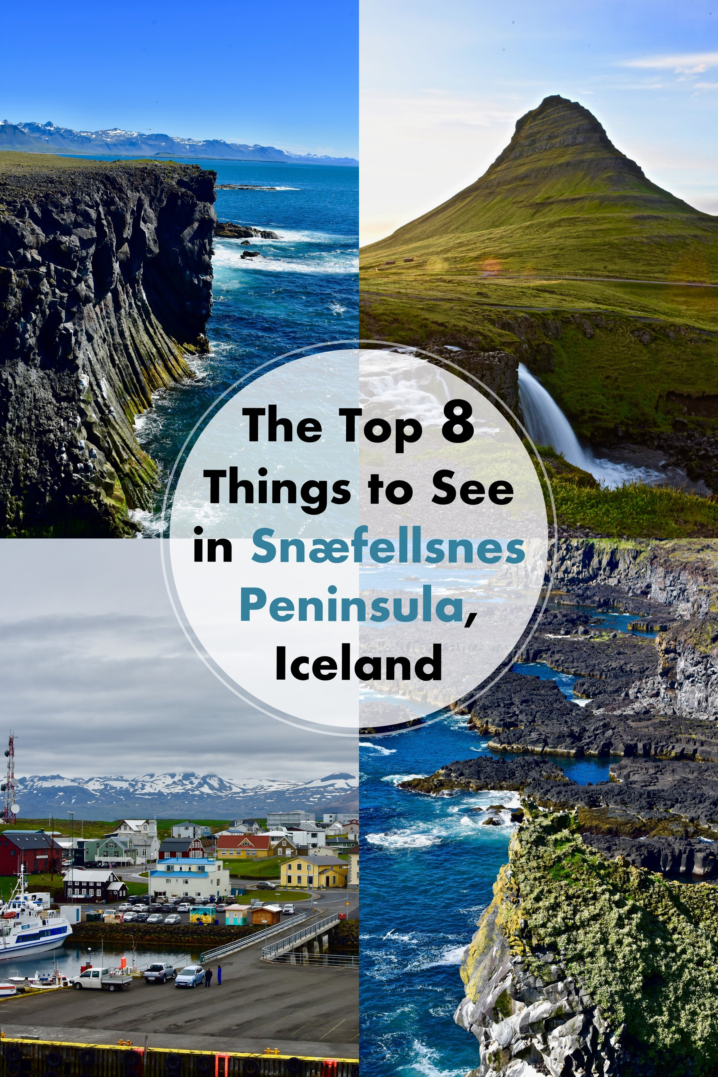 The Top 8 Things to See in Snæfellsnes Peninsula, Iceland. Snæfellsnes Peninsula is one of the most extraordinary regions in Iceland for dramatic landscapes and must-see sights. You can see everything from glaciers, lava fields, waterfalls, varying colored beaches, steep ocean cliffs, or volcano peaks. #iceland #europe #travel #top8 #snæfellsnespeninsula #mustsee #bucketlist
