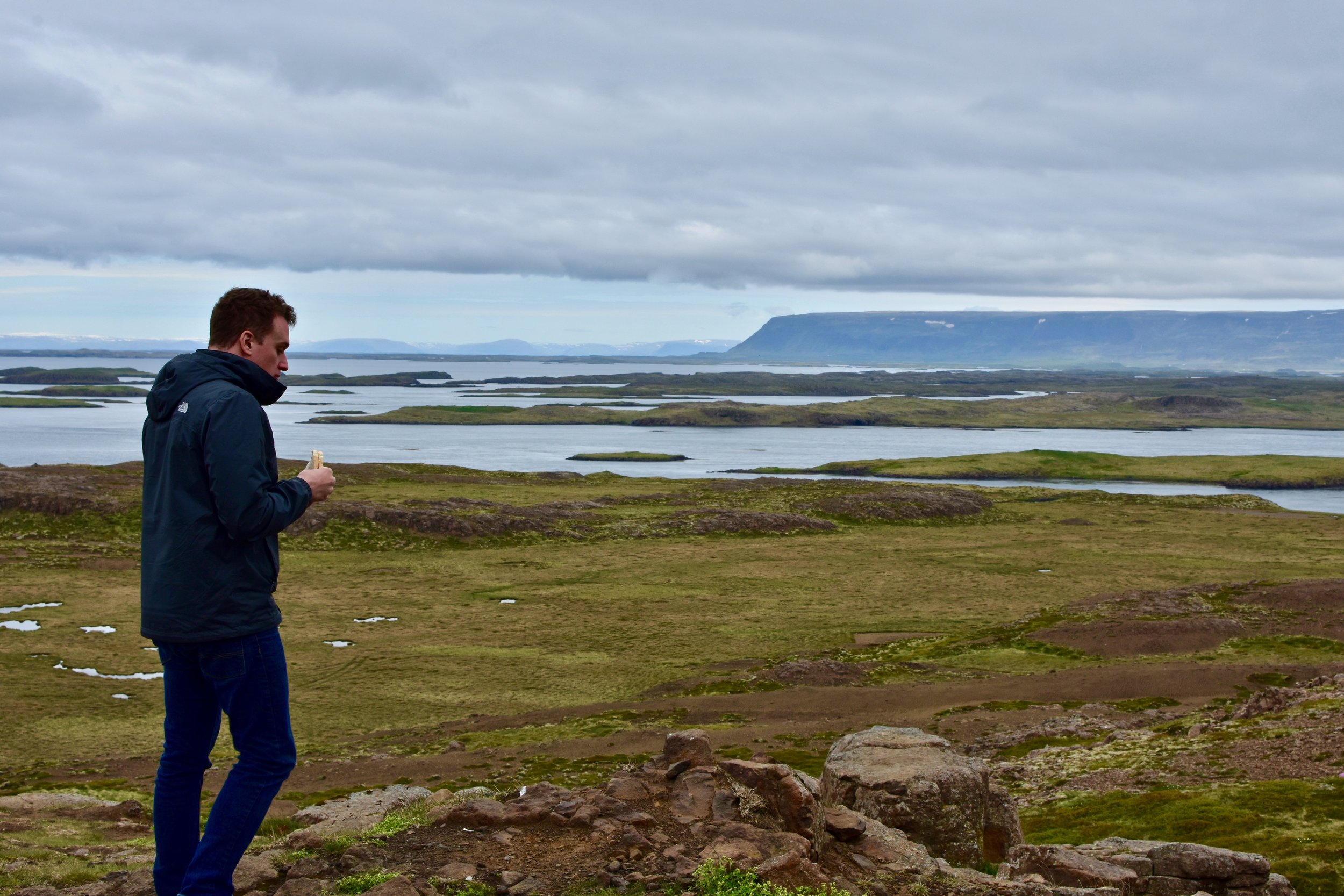 Eating a Sandwich on the way to Snæfellsnes Peninsula in North Iceland