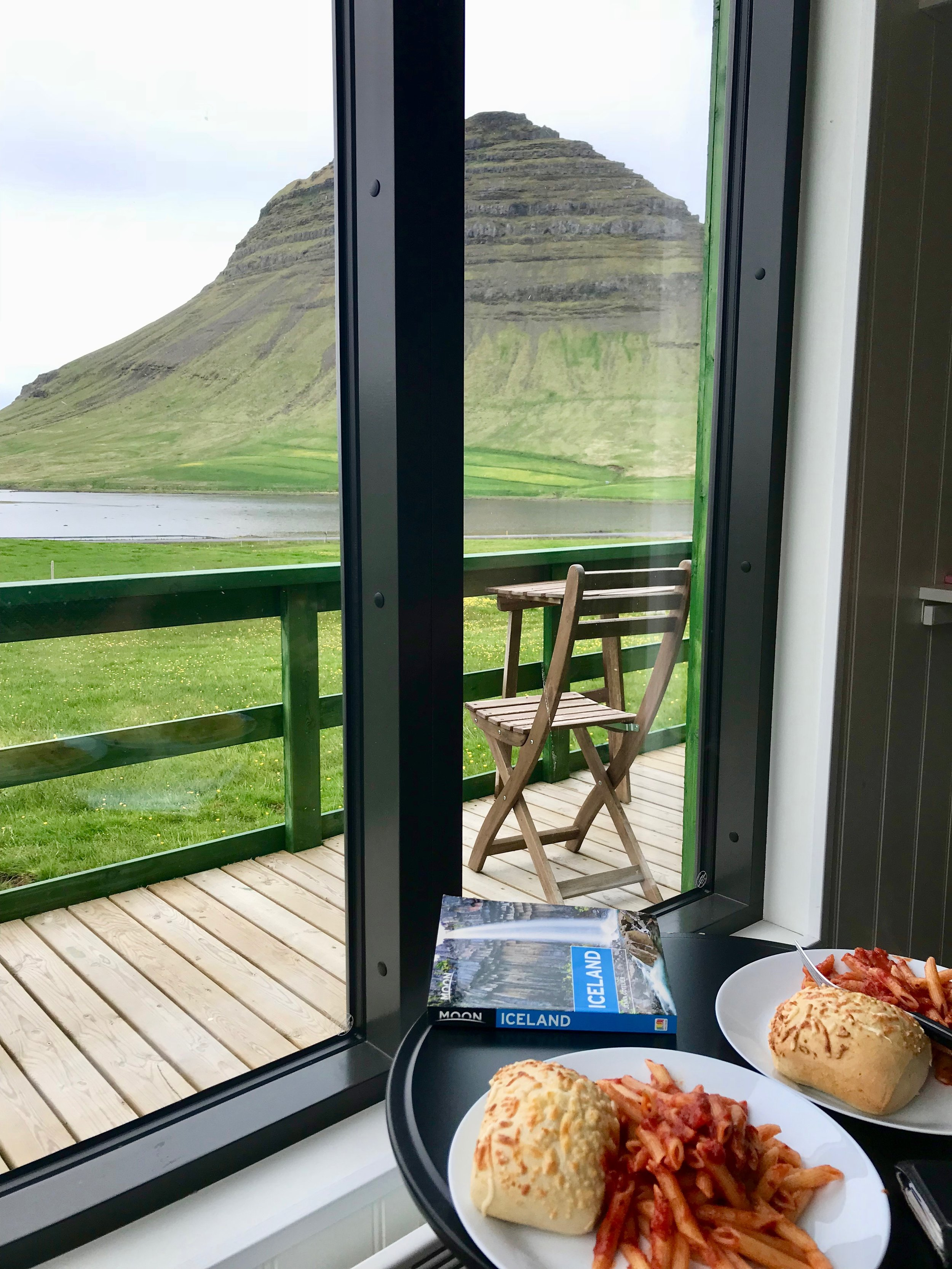 Dinner at our Airbnb overlooking Kirkjufell Mountain