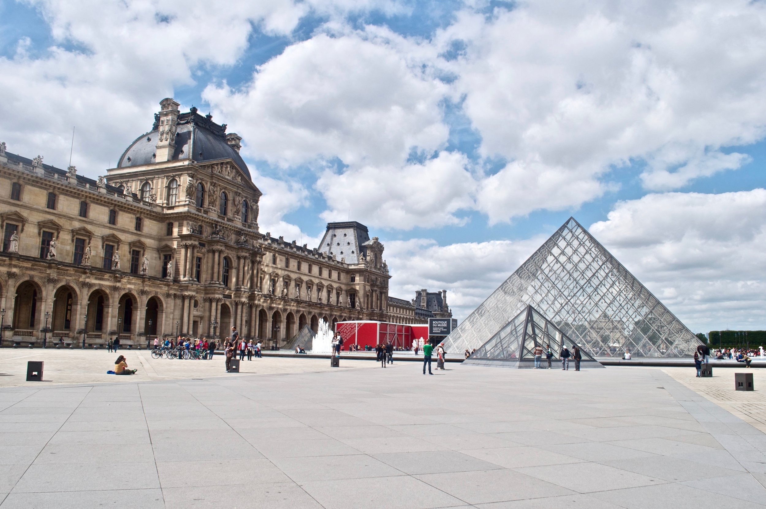 Outside of the Louvre, you enter in through the glass pyramid in the center of the square