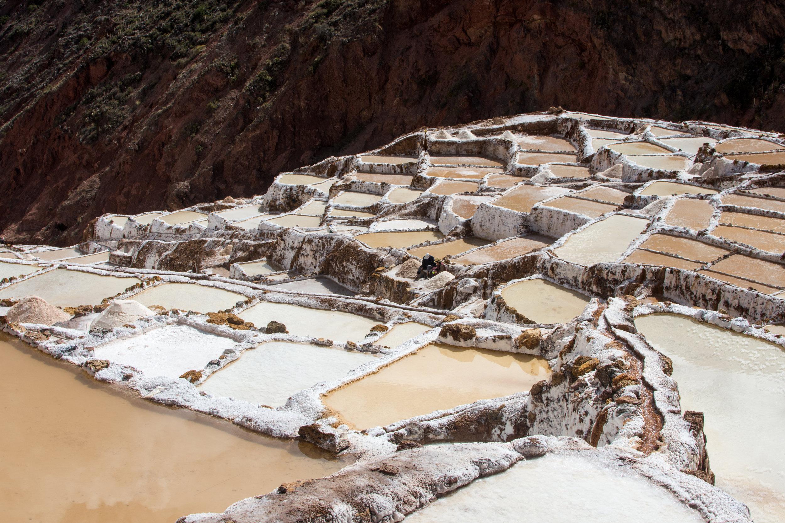 Family harvesting salt at Maras