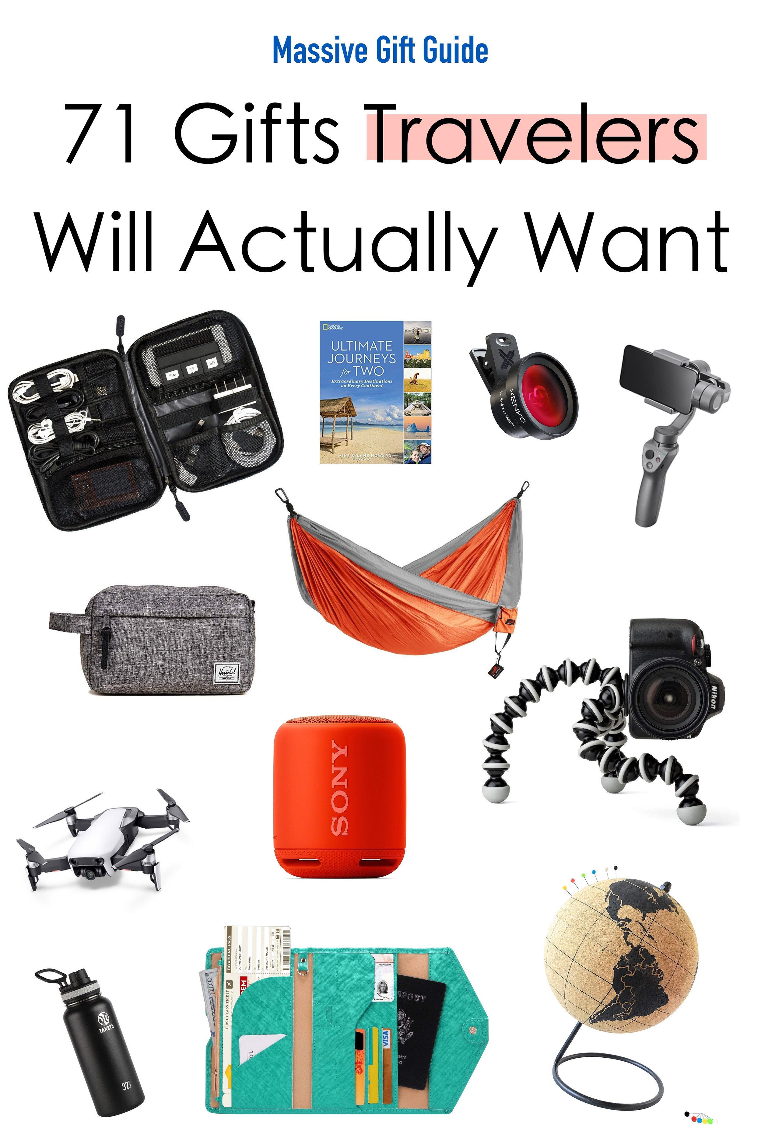A true traveler values experiences over possessions –making them particularly difficult to shop for.  However, there are many gifts that will greatly improve their adventures.  Aside from an around-the-world plane ticket, these 71 gifts are ones that travelers will actually want.  #GiftGuide #Travel #Christmas