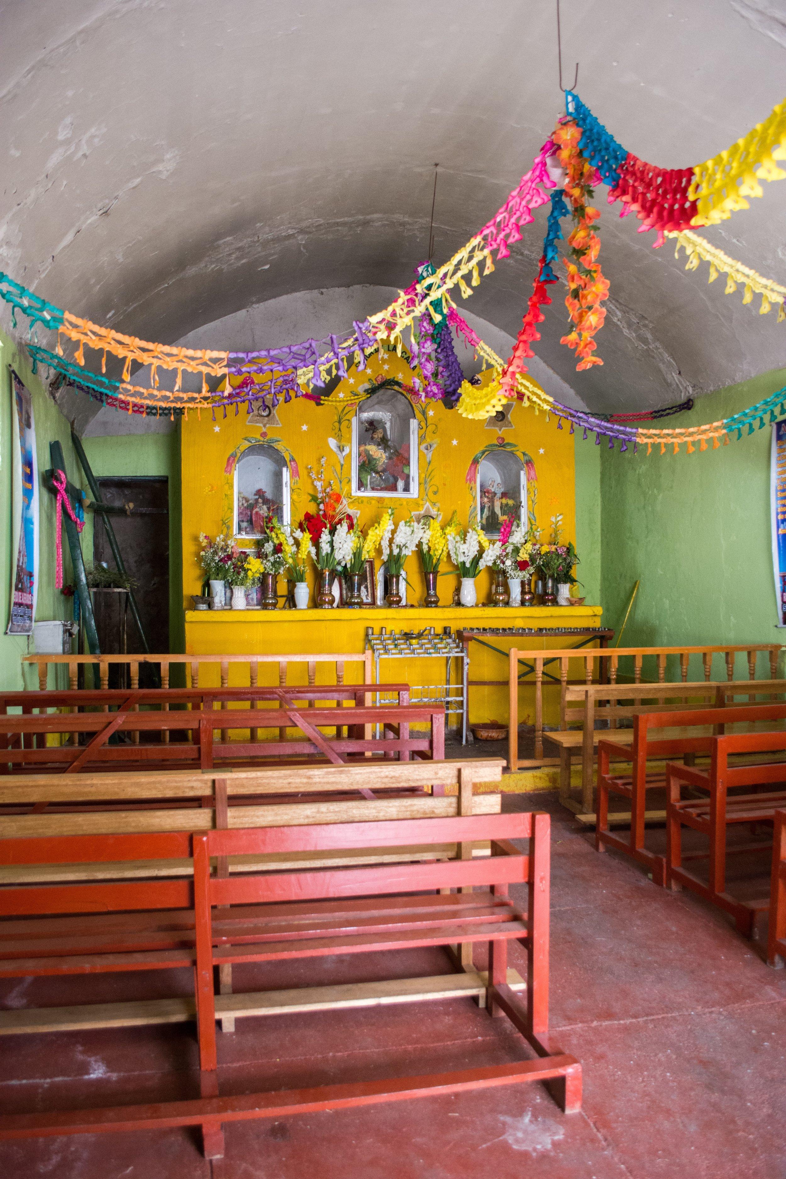Small Church next to the textile market at Abra La Raya