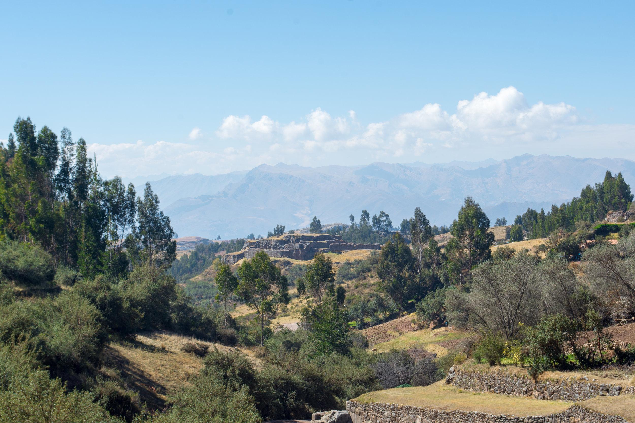 View of Puka Pukara from Tambomachay