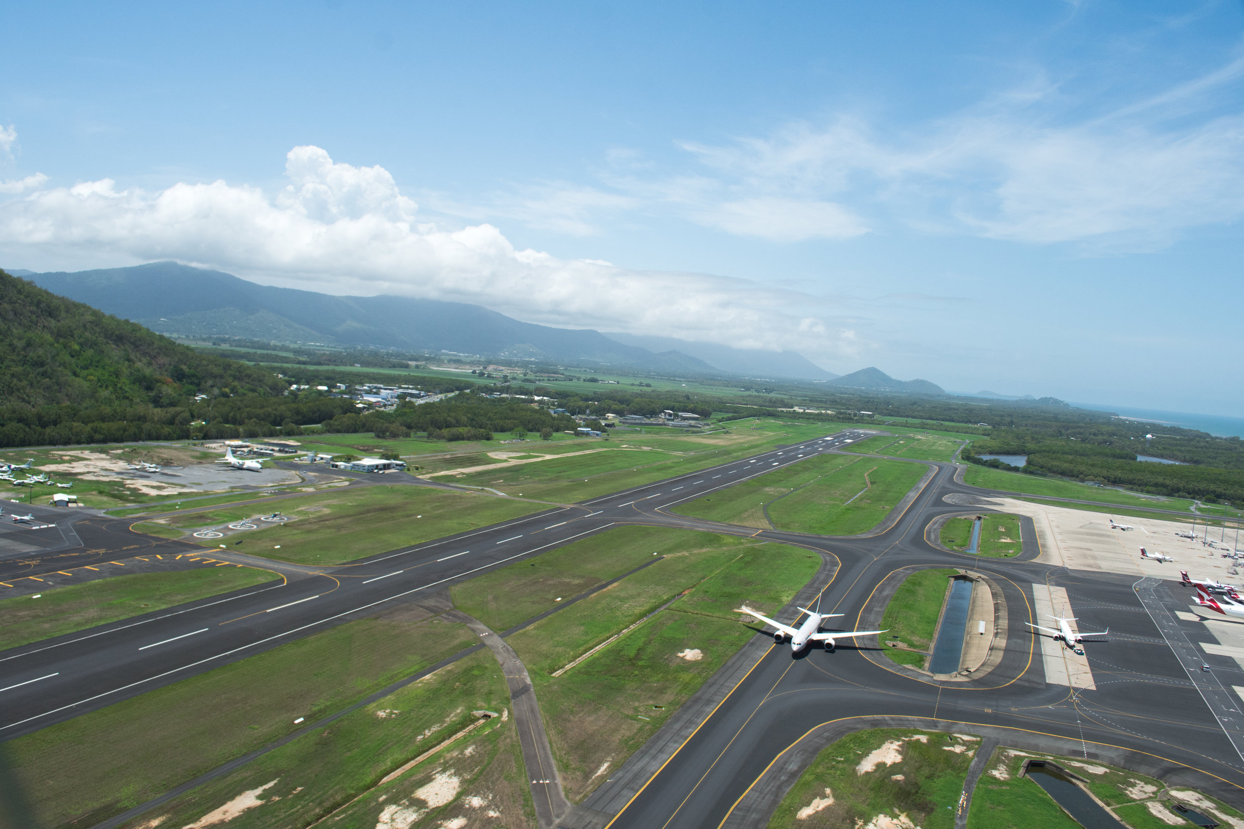 Flying over Cairns Airport