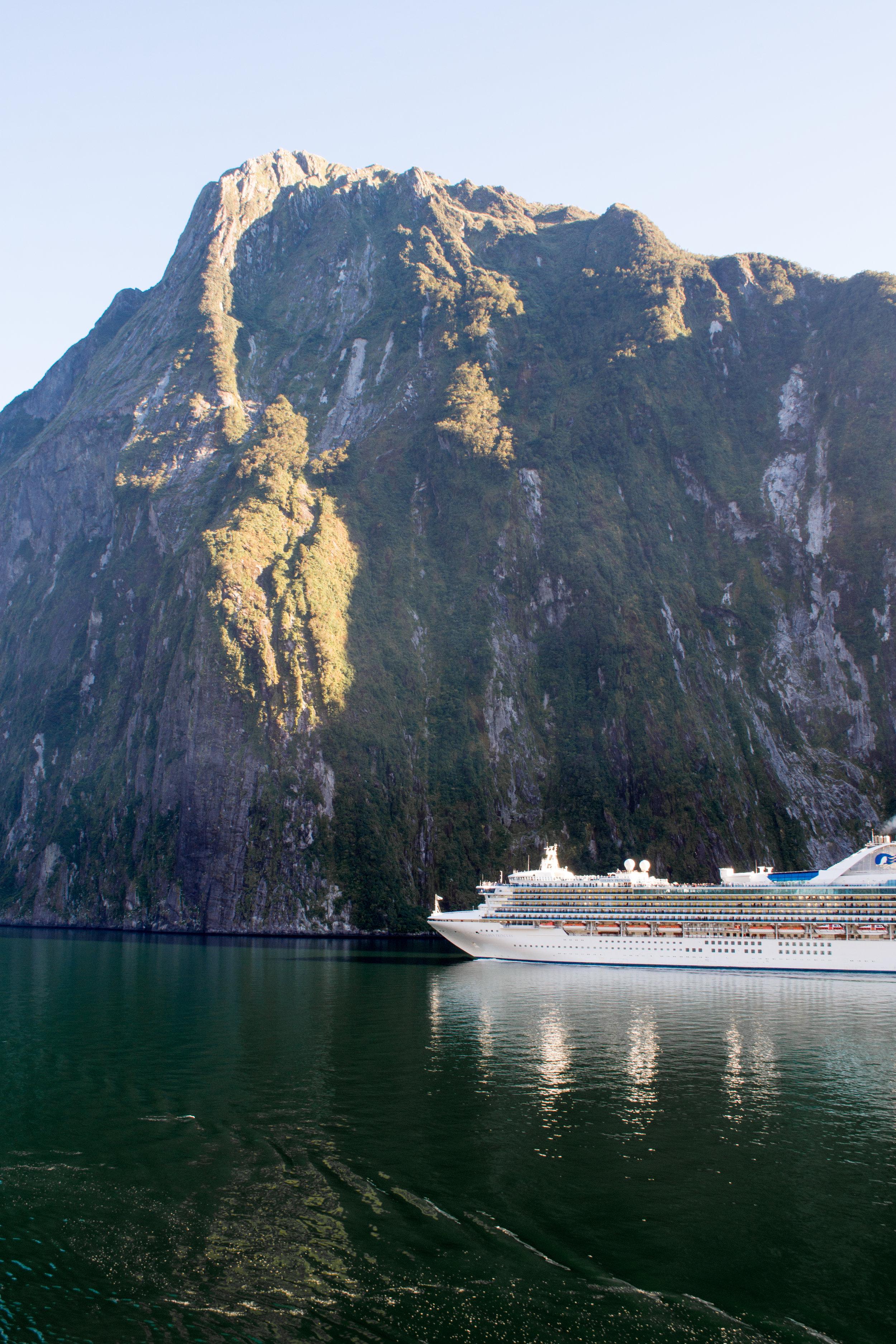 Princess Cruise Ship in Milford Sound