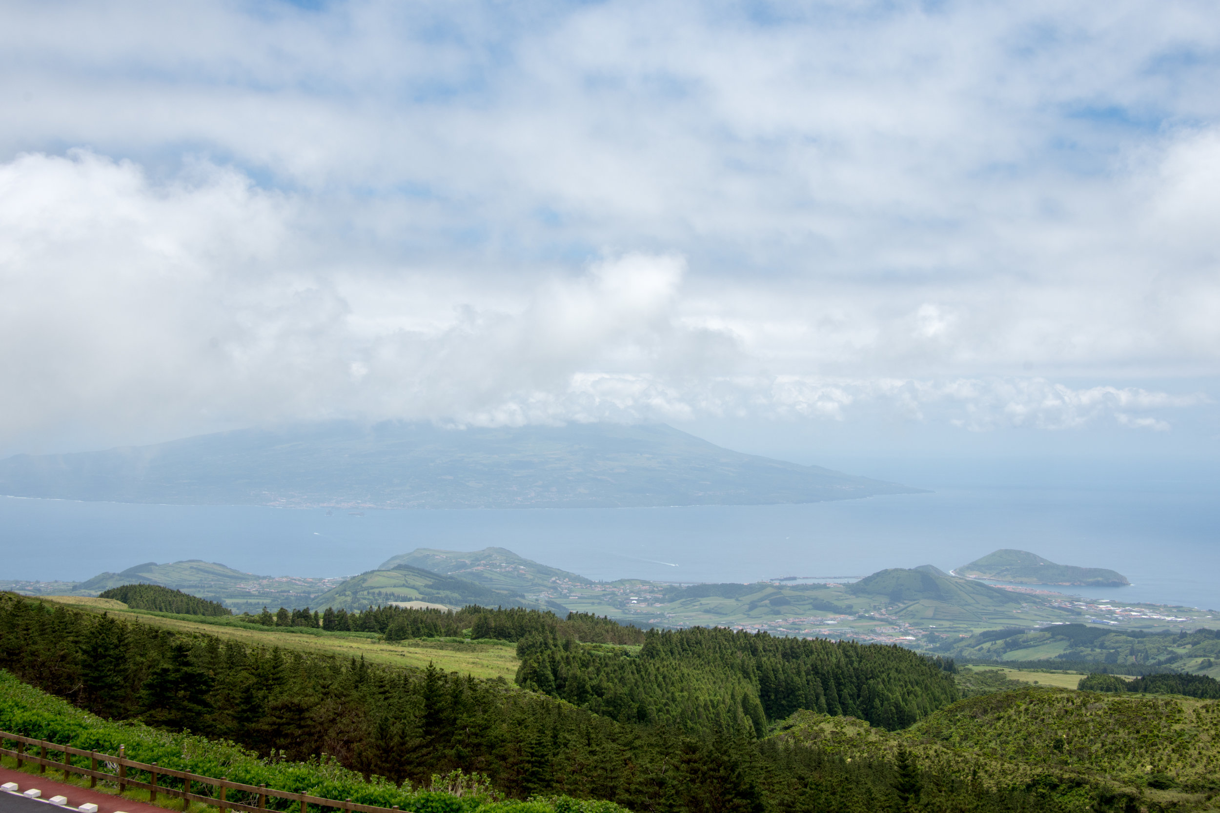 View of Pico and Horta from the Caldeira