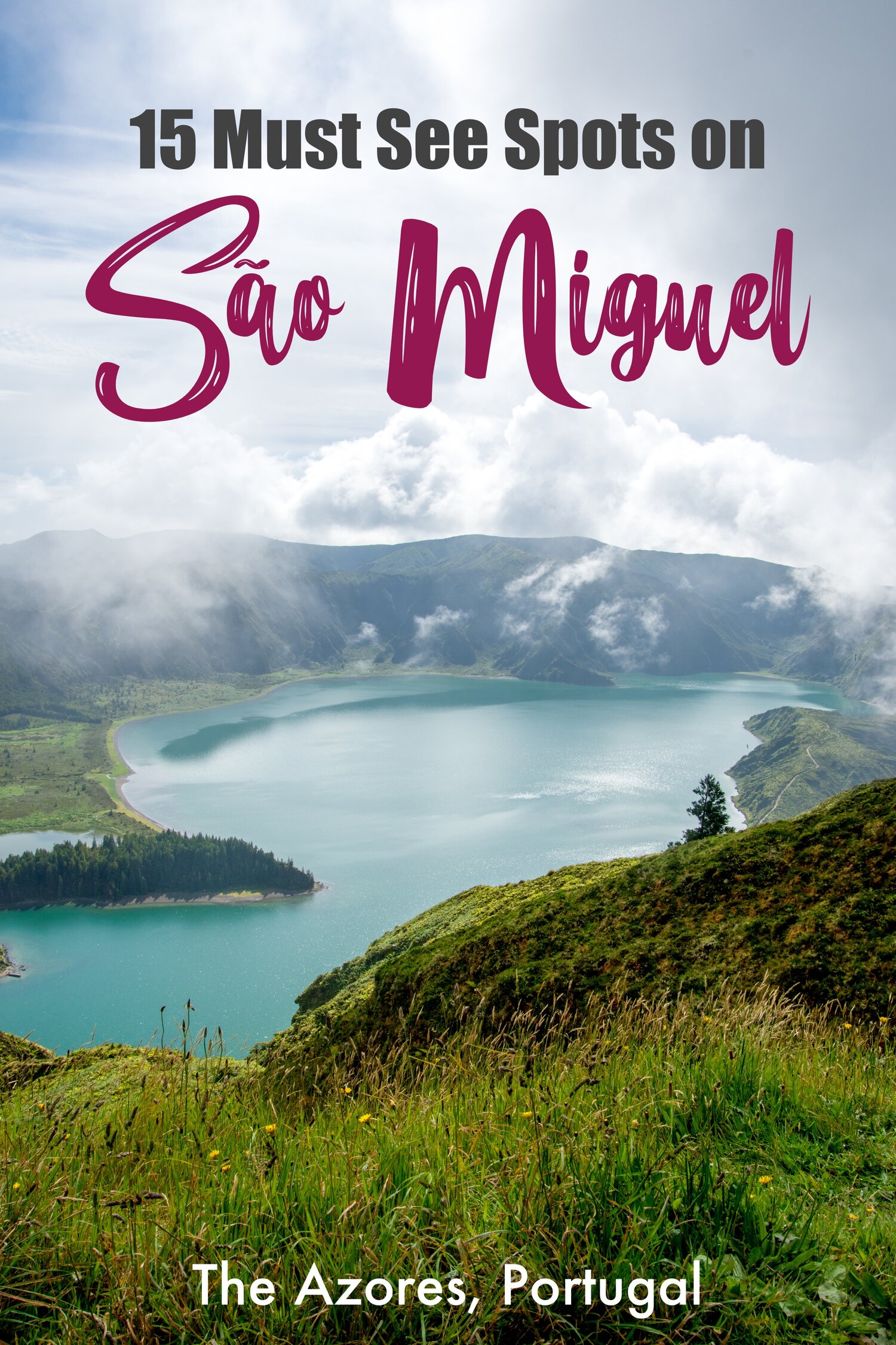 15 Must See Spots to Visit on Sao Miguel Island in the Azores, Portugal.  Sao Miguel is a gorgeous volcanic island with amazing diverse sights #saomiguel #azores #portugal #europe