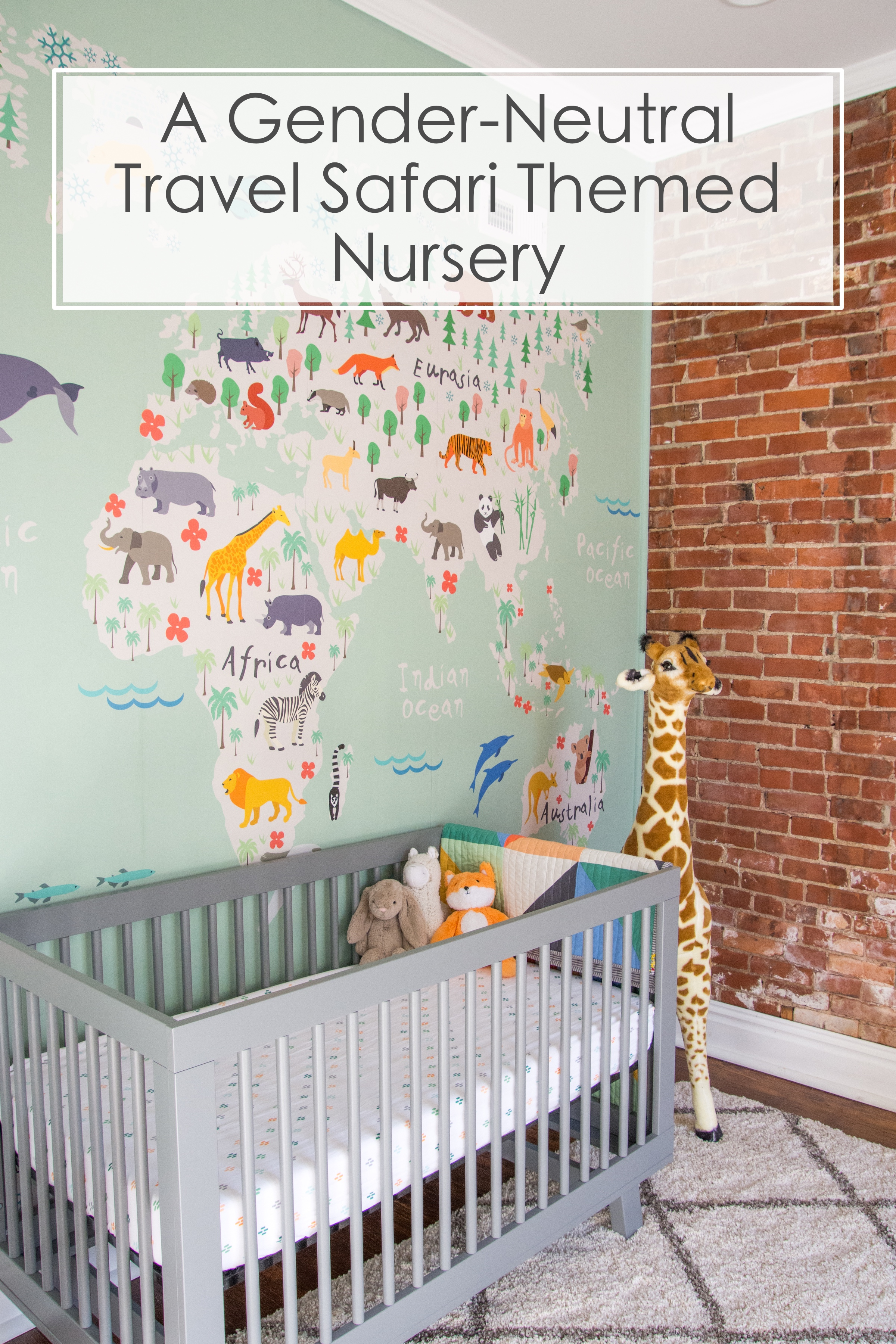 A Gender-Neutral Travel Inspired Nursery | Modern Animal Safari Theme #nursery #safari #travelnursery #travel #baby #pregnant