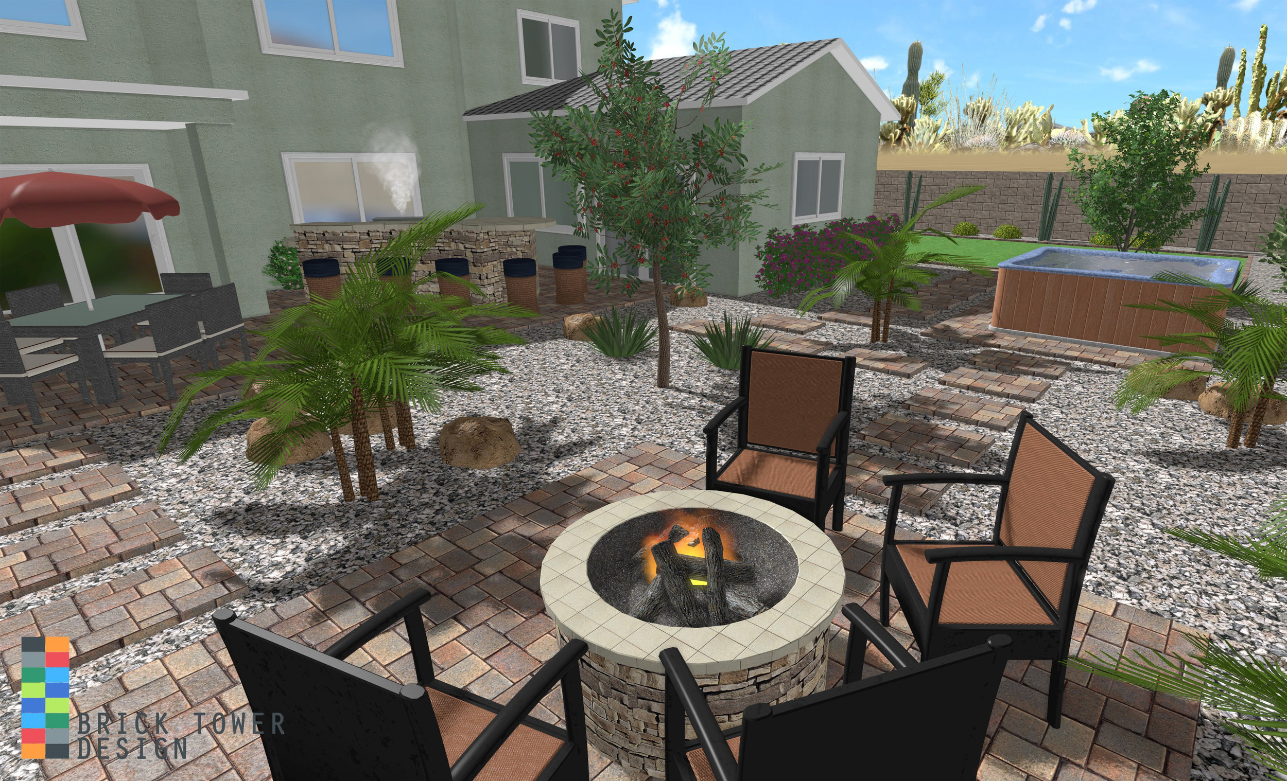 Show your customers more than just a swimming pool. Give them a good look at the rest of their landscape, with custom-built features like plants, fire pits, & BBQs. If you can build it, we can show it in our renderings.