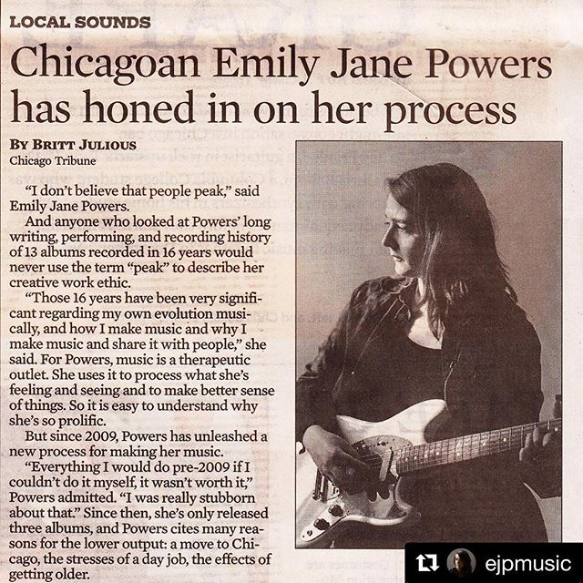 """So cool to read about @ejpmusic in the @chicagotribune this week! Check out her latest album """"Restless"""" wherever good music is streamed. 🗞 🎶 ・・・ """"i had the honor of talking to @britticisms on my birthday last week about my journey as a musician. i feel so grateful to have the opportunity to share my story & perspective with @chicagotribune 🗞 pick up a copy in print today or read online anytime it suits you! #ejp13"""""""