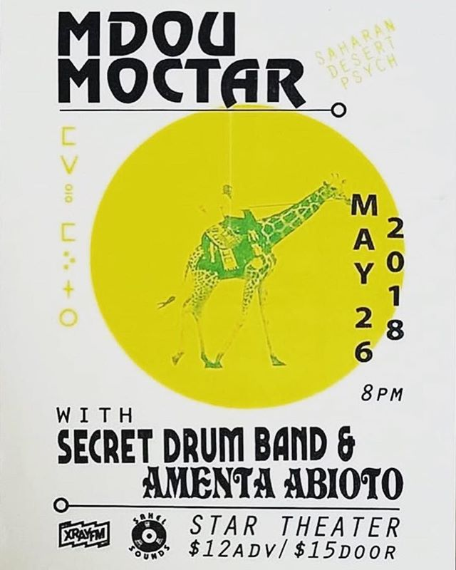 If you're in Portland, OR this Saturday 5/26 head down to The Star Theater to see and hear Magic Drop artists @secretdrumband performing with @mdou_moctar and @amentaabioto! . . . . #portland #tuareg #percussion #guitar #desertguitar #africanmusic #niger #drums #portlandmusic #portlandoregon #rockmusic #indierock #livemusic #music #loops #flyerdesign
