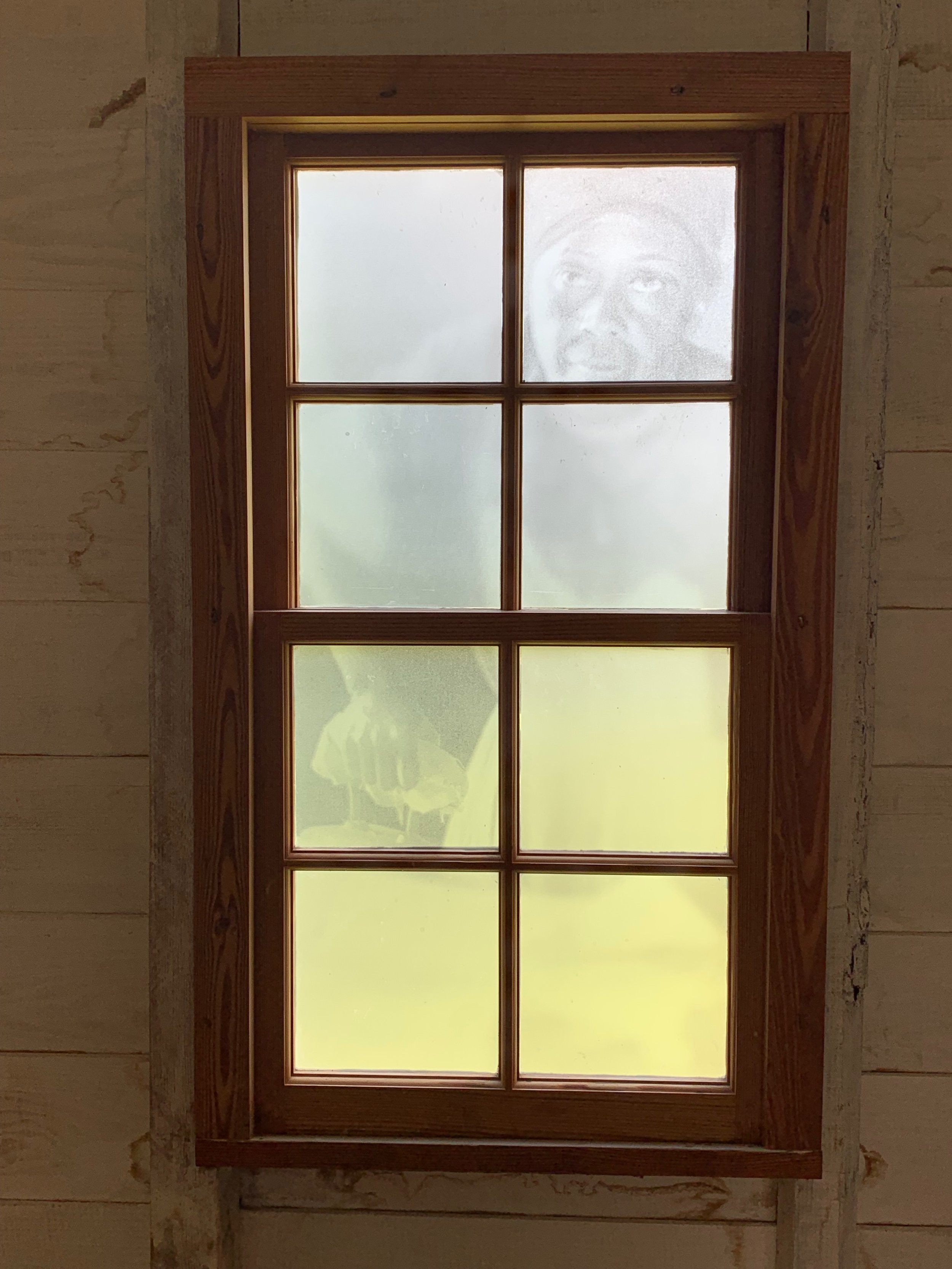 Etched Window in Slave Quarter, South Yard, Montpelier. Created by  Proun Design , The Montpelier Foundation. Photo by Renée Ater, August 2019.
