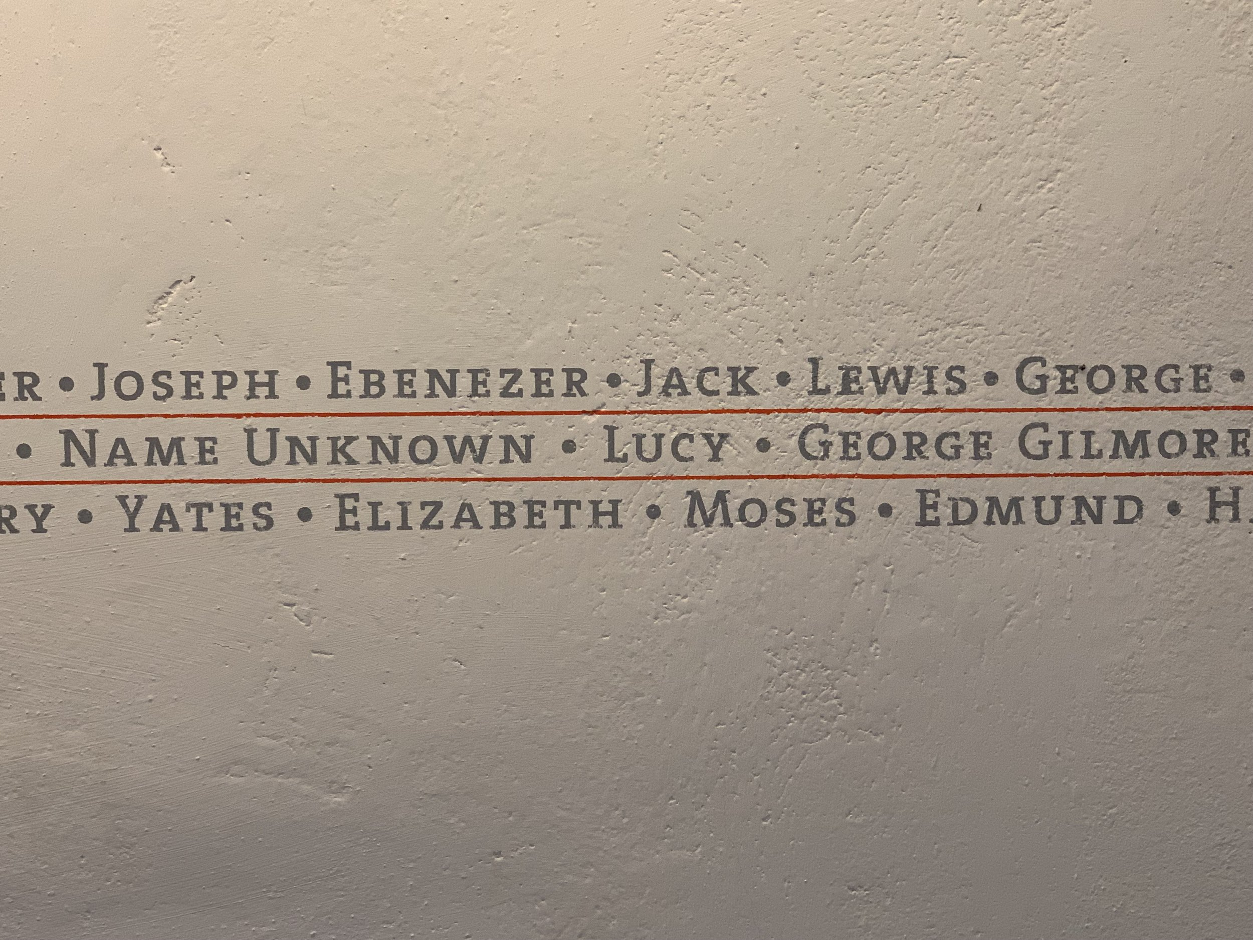 Names listed on wall in South Cellar, Montpelier. Photo by Renée Ater, August 2019.