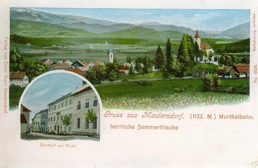 Kolorierte Ansichtskarte vom Wolfgangkircherl und 'Postmayr' (ca. 1920)
