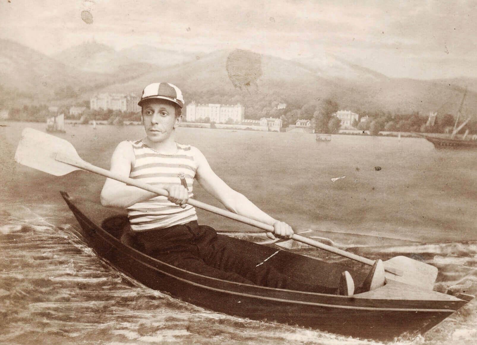 Ernst Mayr sen. als Ruderer in Abbazia (1889)