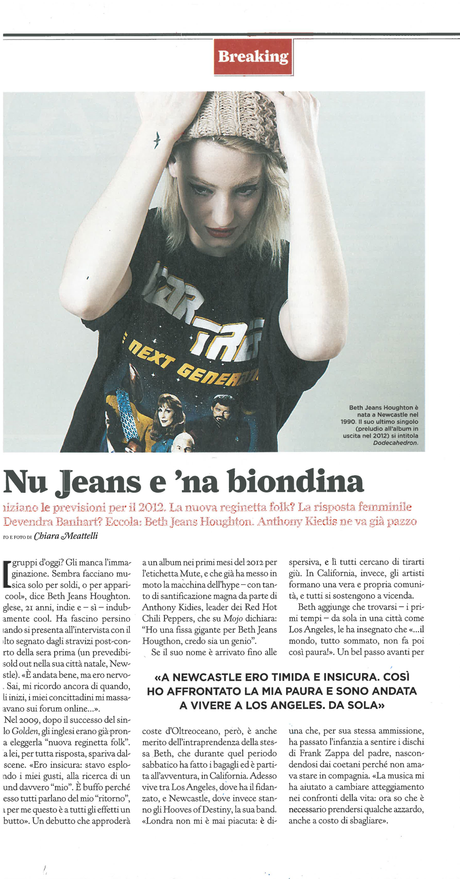 Rolling Stone magazine: Beth Jeans Houghton interview & photo