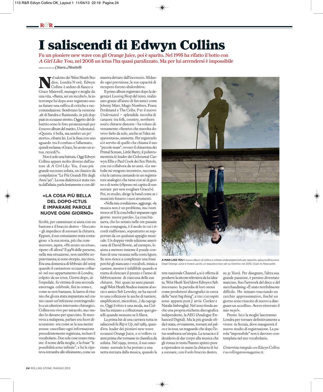 Rolling Stone magazine: Edwyn Collins interview & photo