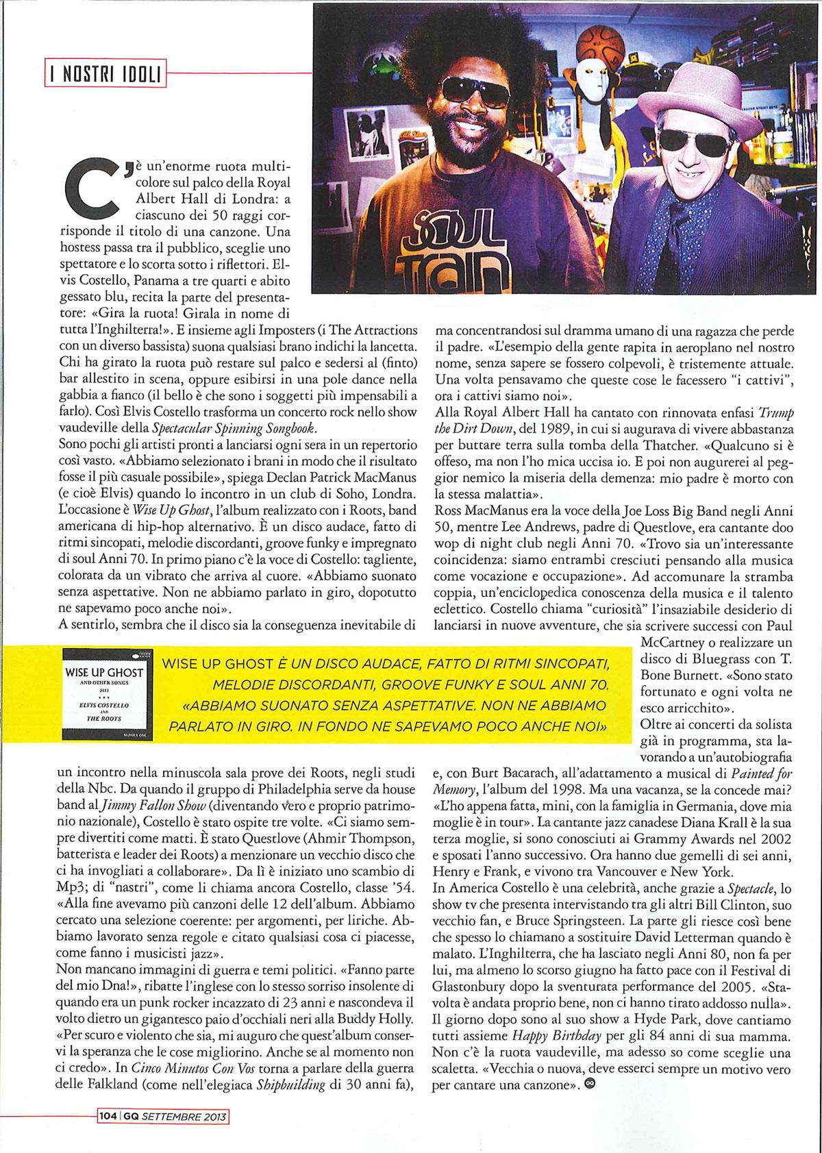 GQ: Elvis Costello interview