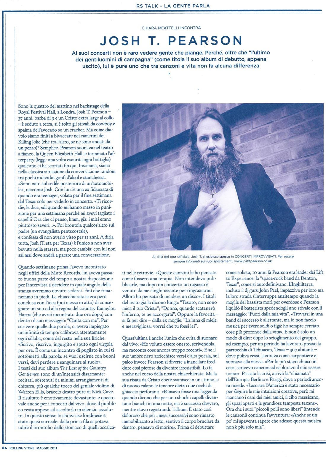 Rolling Stone magazine: Josh T. Pearson interview & photo