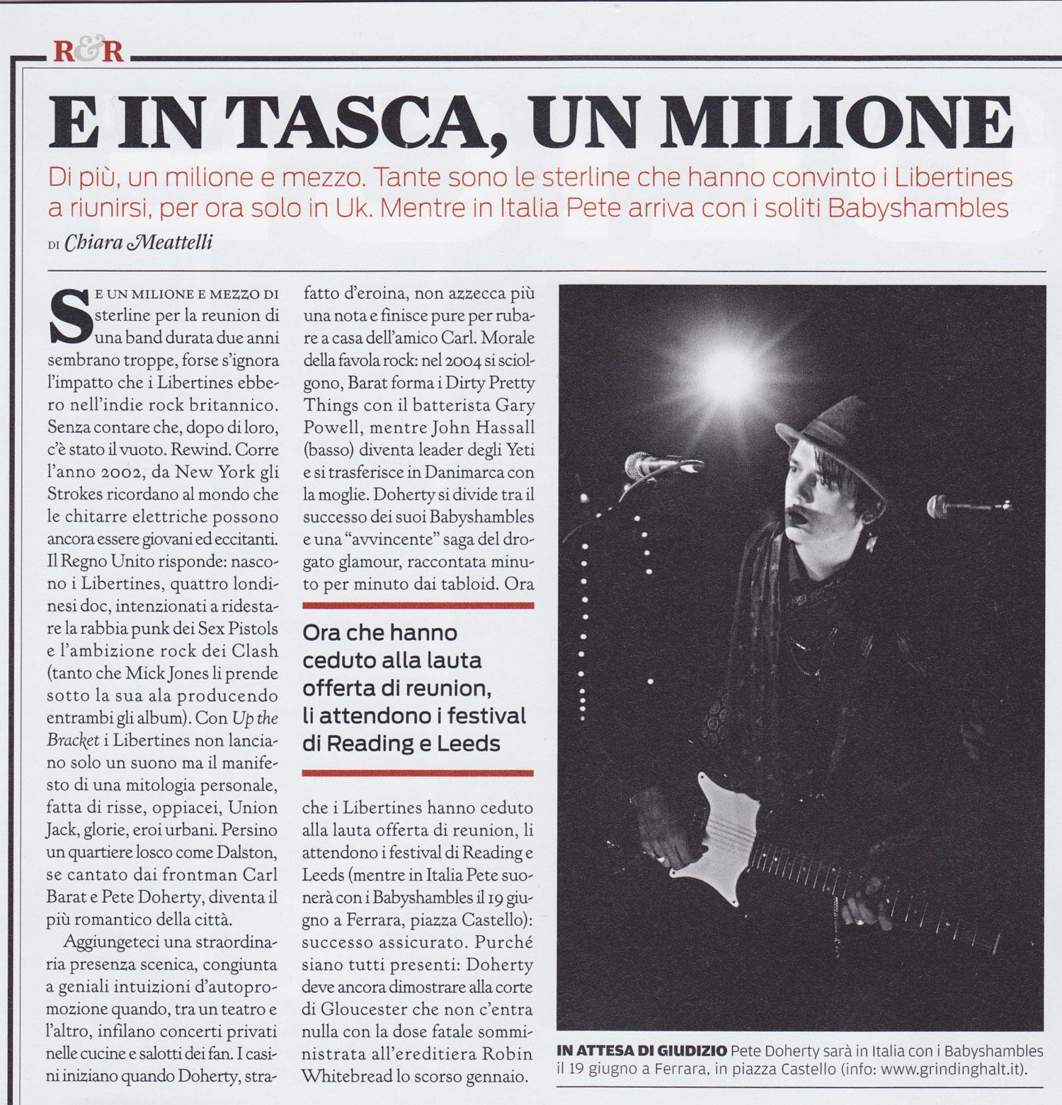 Rolling Stone magazine: Libertines reunion
