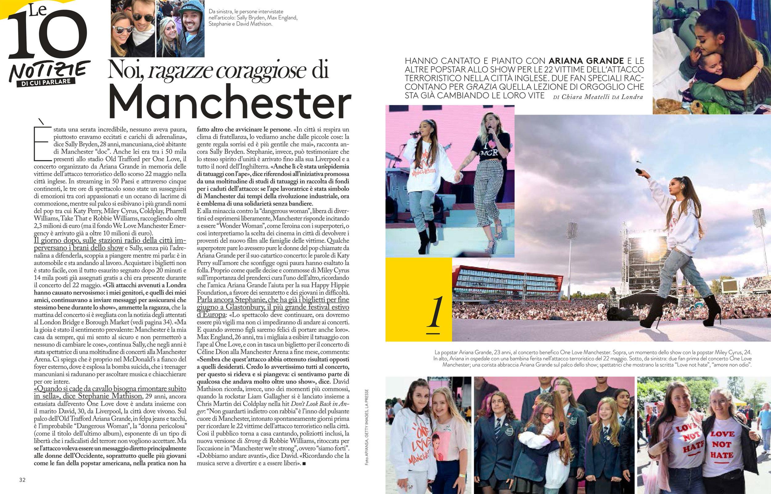 Grazia: Manchester attack memorial