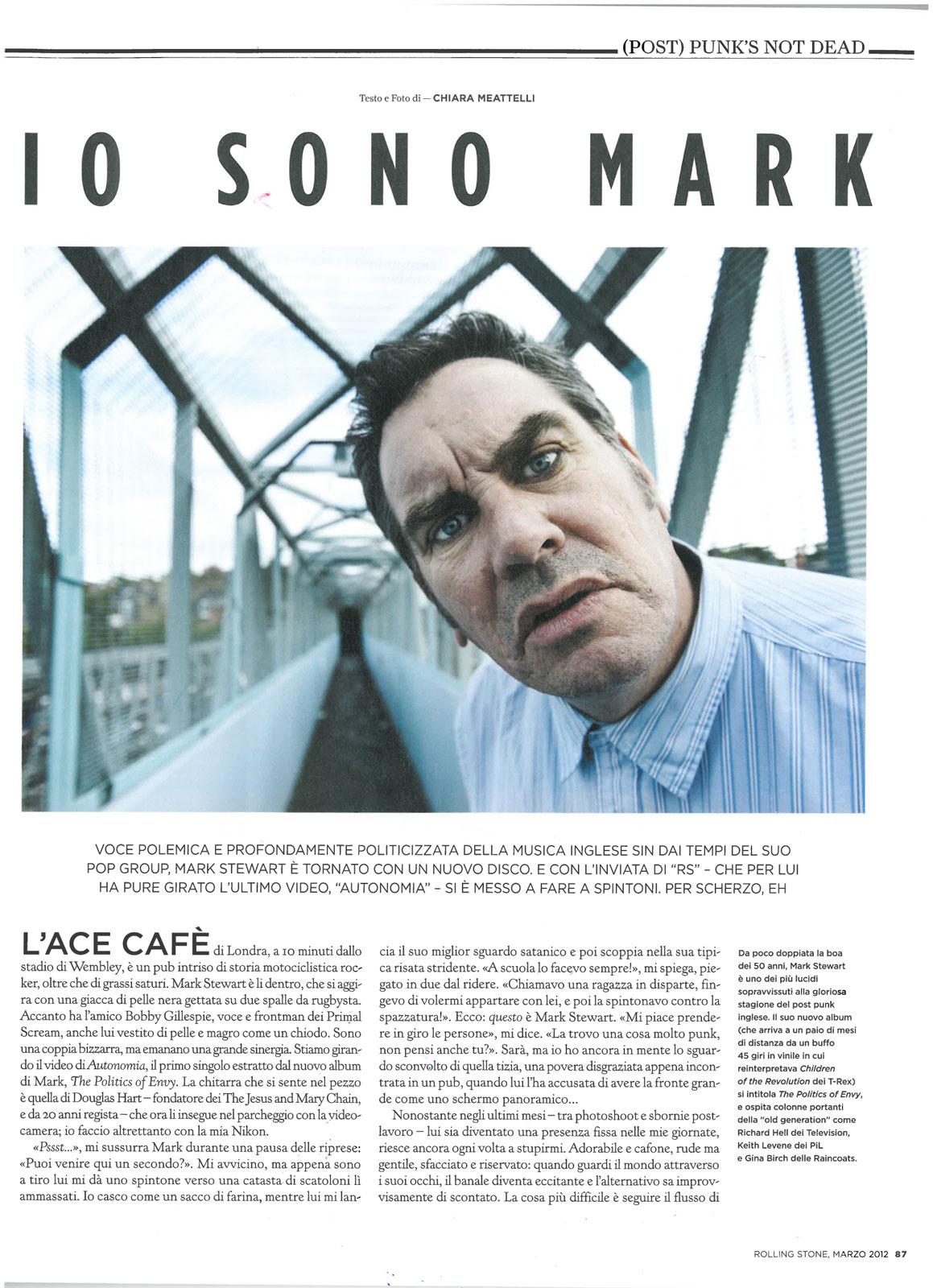 Rolling Stone magazine: Mark Stewart interview & photo